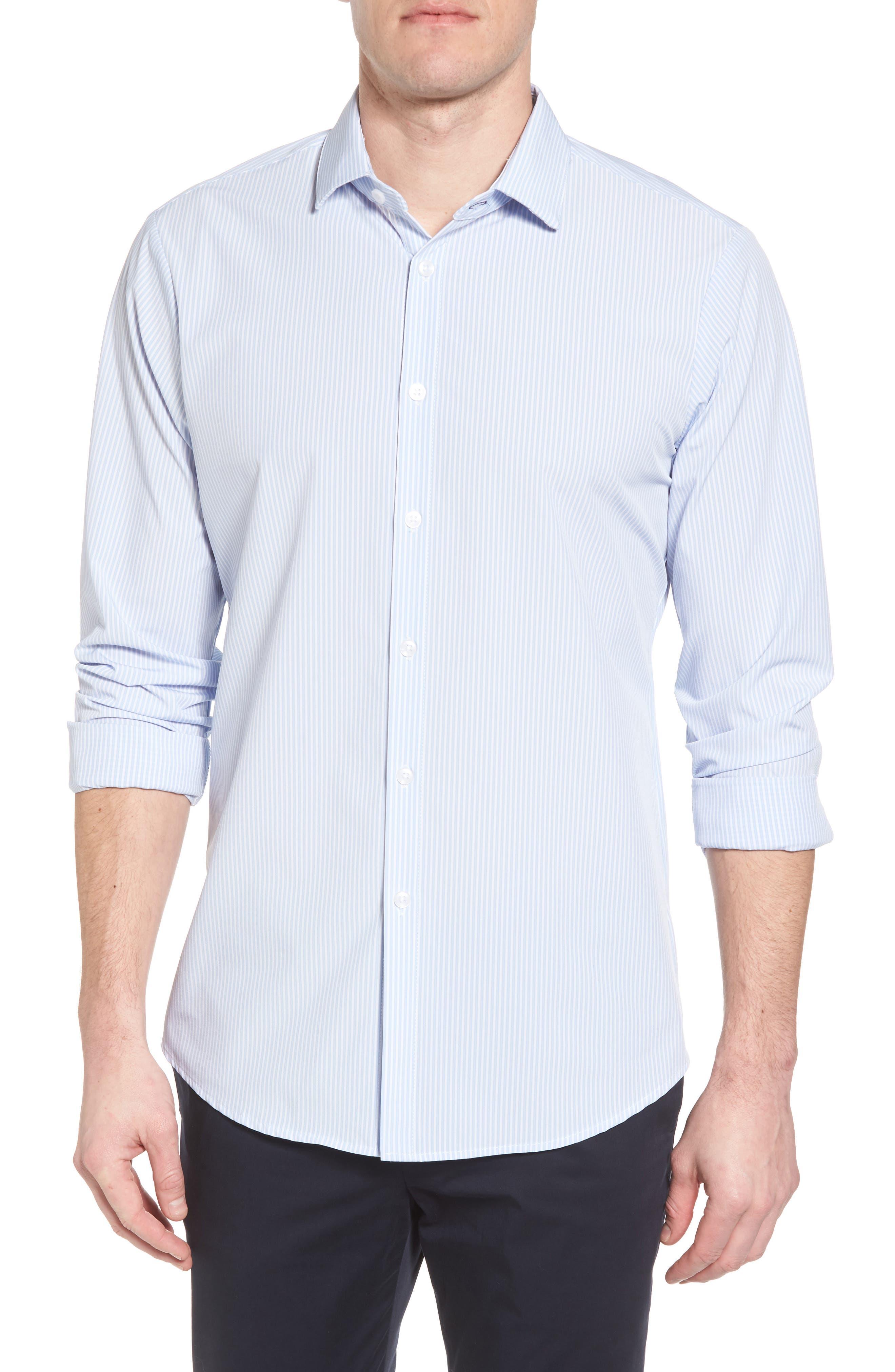 Caldwell Slim Fit Stripe Sport Shirt,                             Main thumbnail 1, color,                             Blue