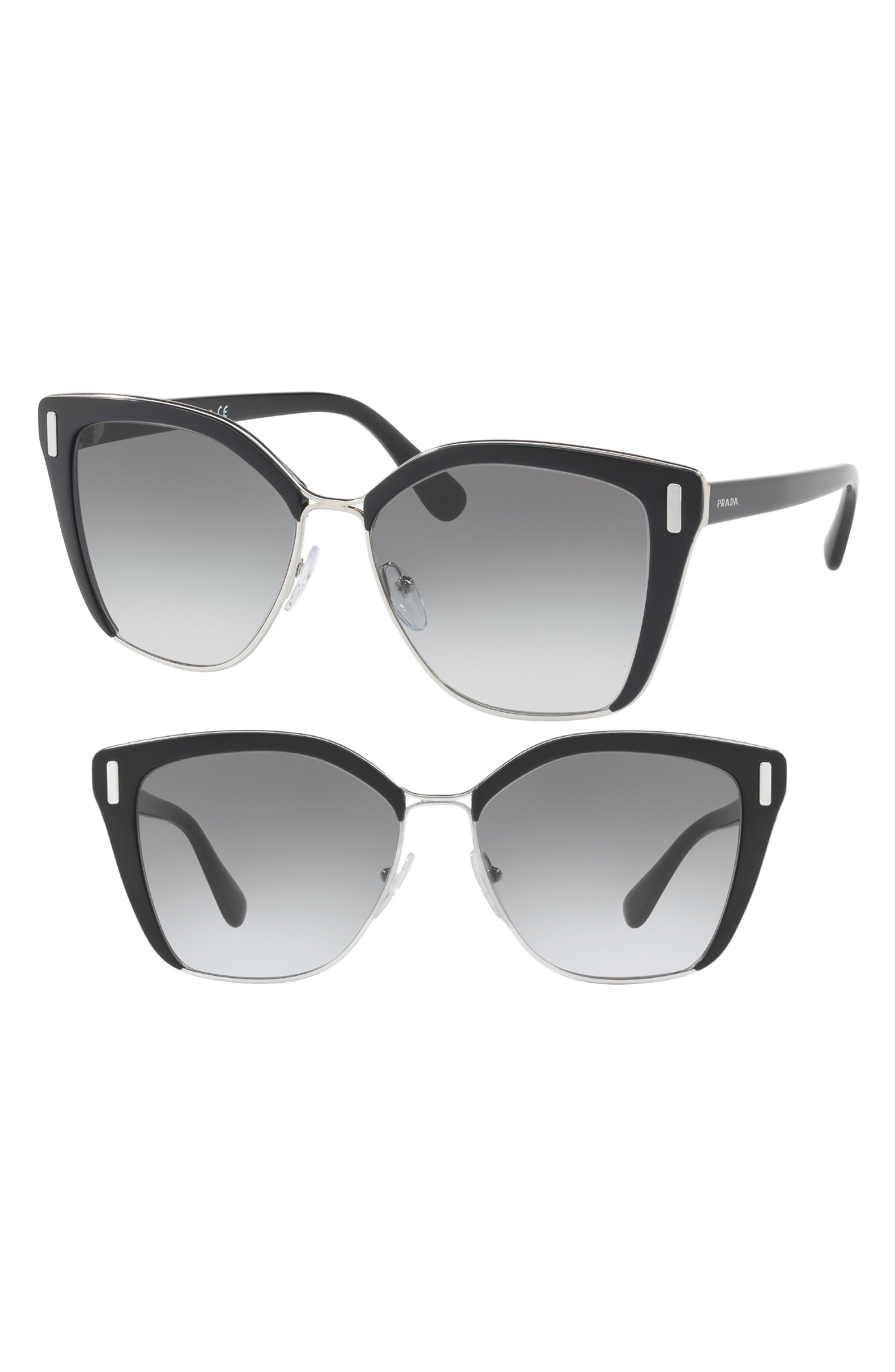 57mm Gradient Geometric Sunglasses,                         Main,                         color, Black/ Silver
