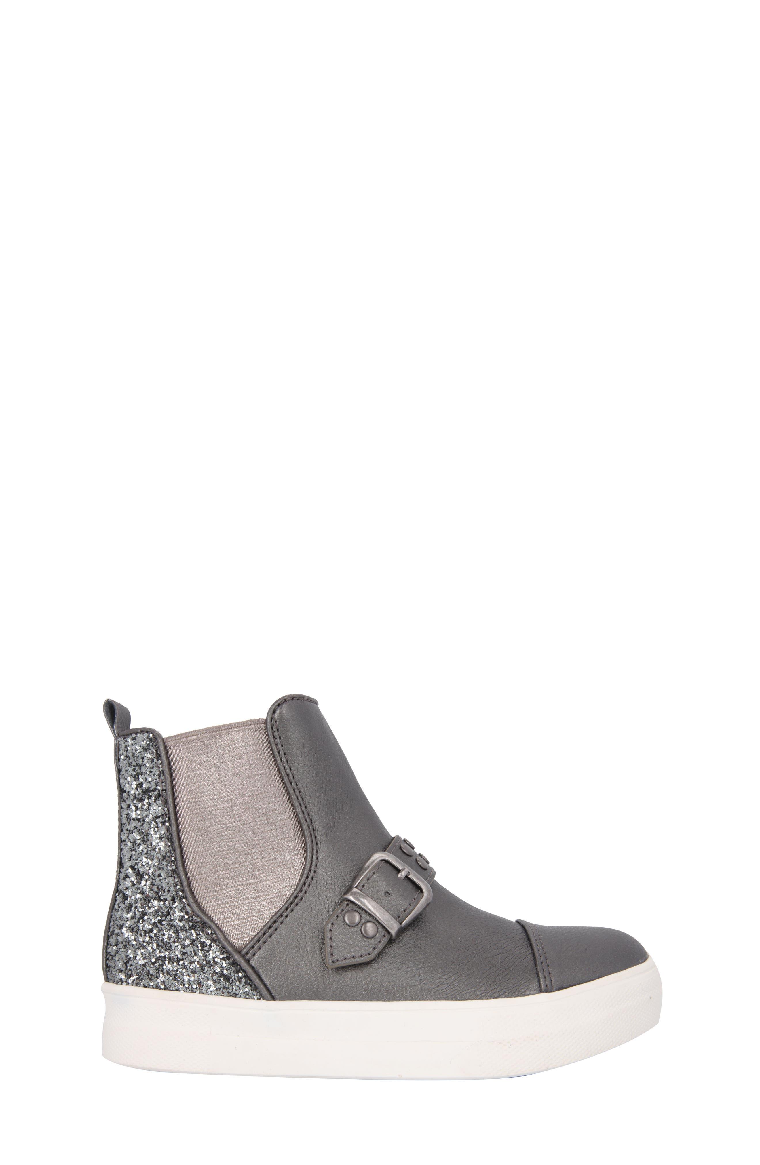 Pammela Glittery High Top Sneaker,                             Alternate thumbnail 3, color,                             Metallic Pewter