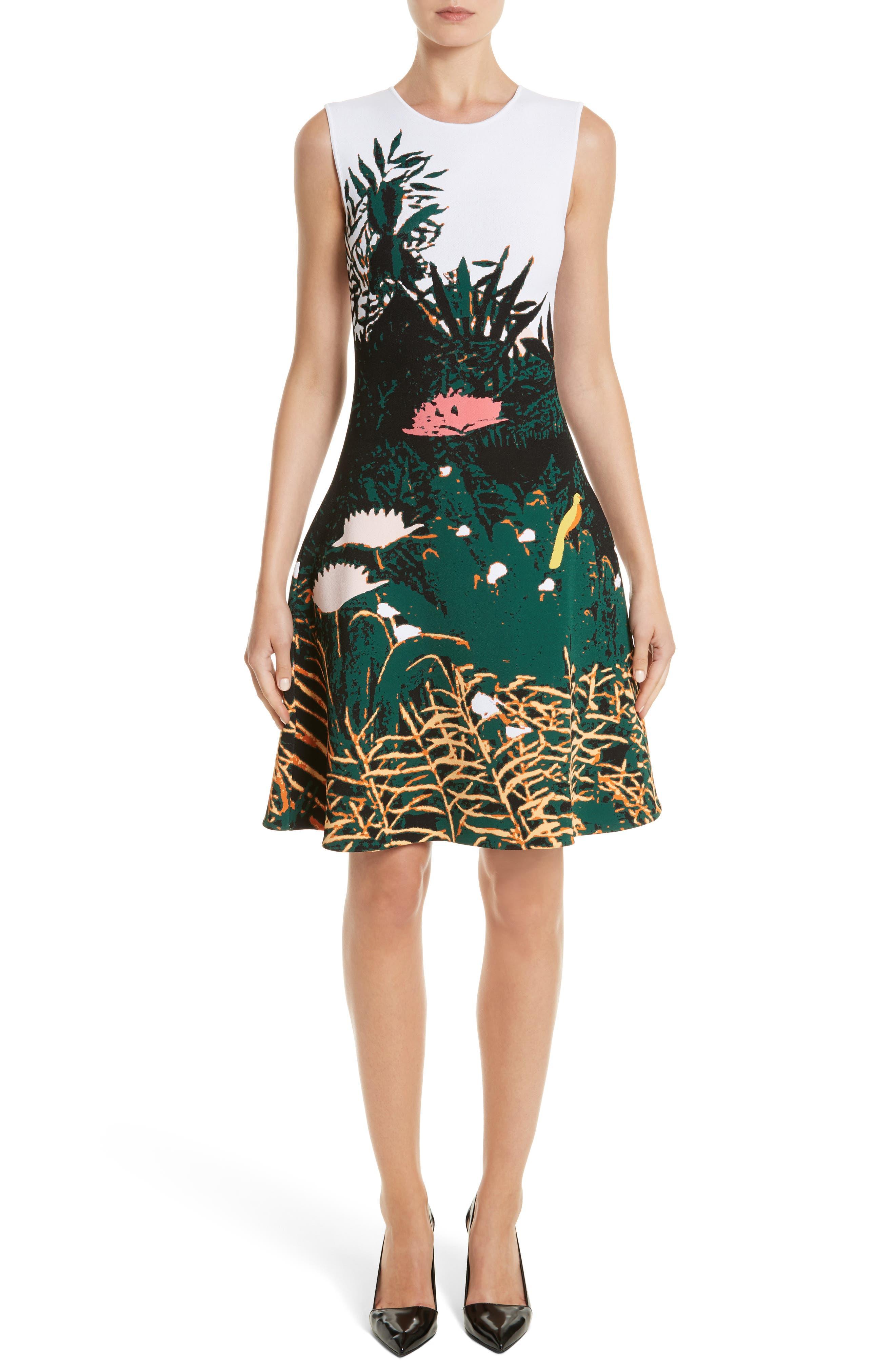 Sunset Intarsia Knit Dress,                             Main thumbnail 1, color,                             Multi