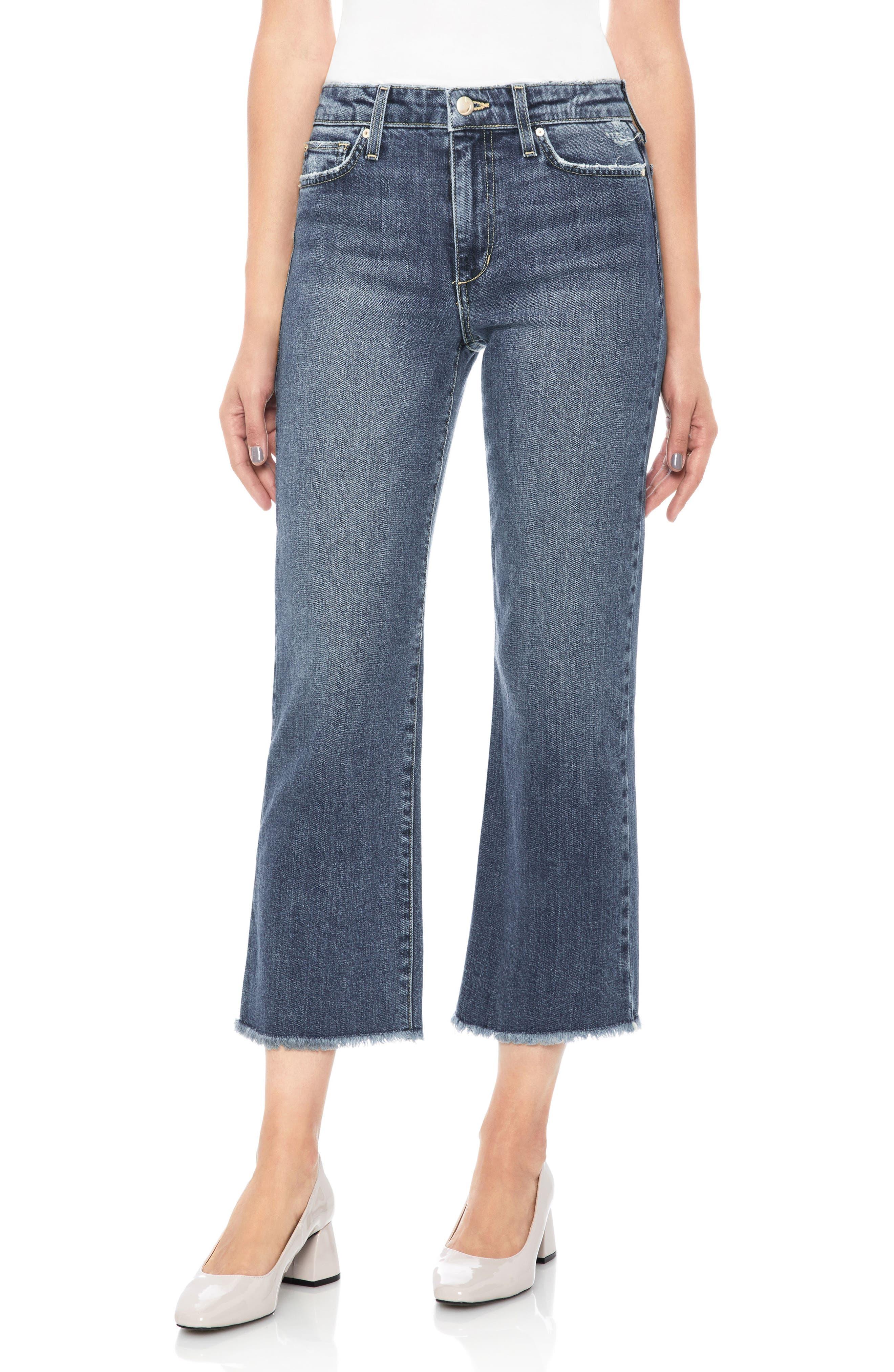 Wyatt Crop Wide Leg Jeans,                         Main,                         color, Saxon