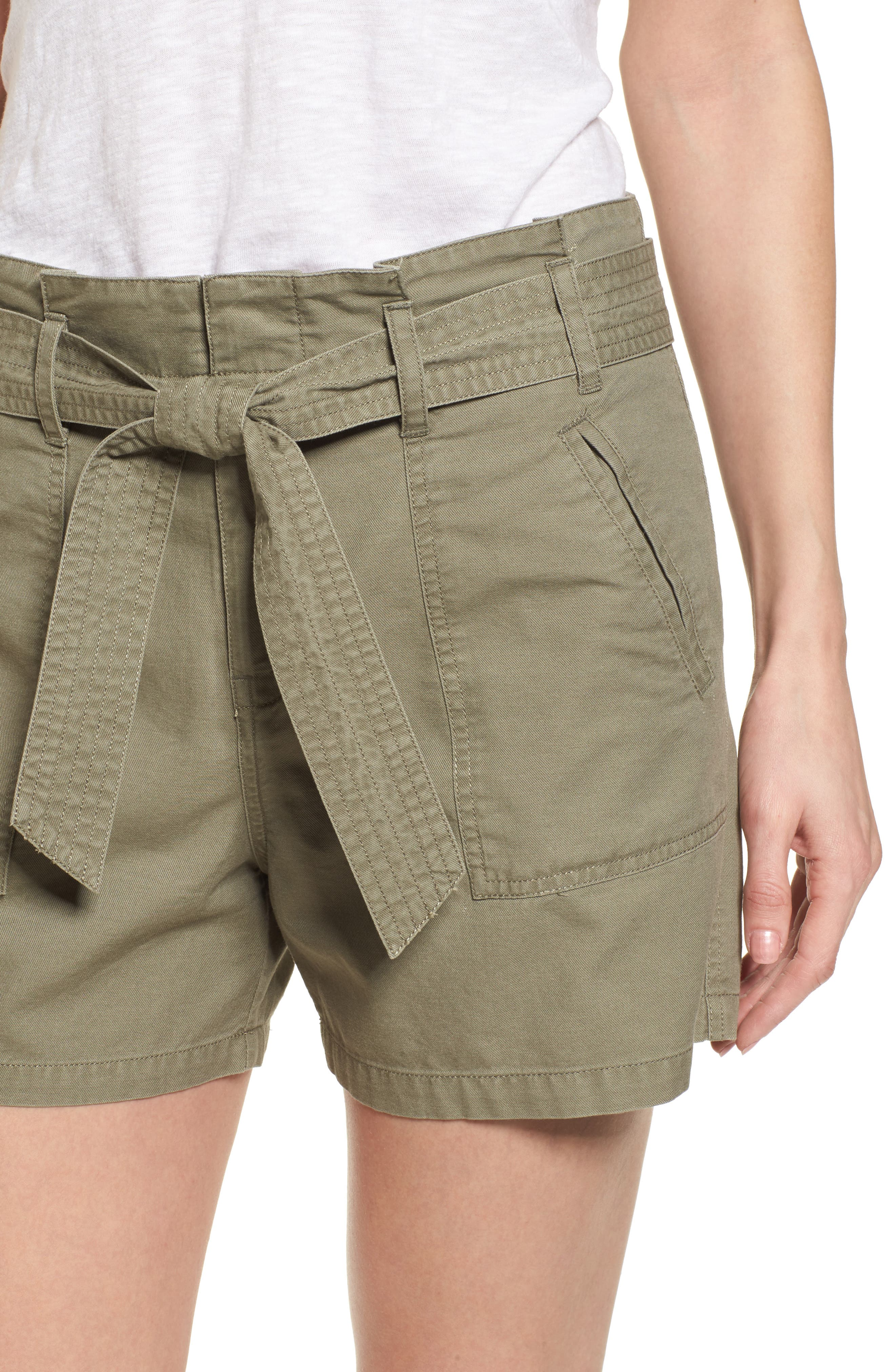 Belted Twill Shorts,                             Alternate thumbnail 5, color,                             Olive Sarma