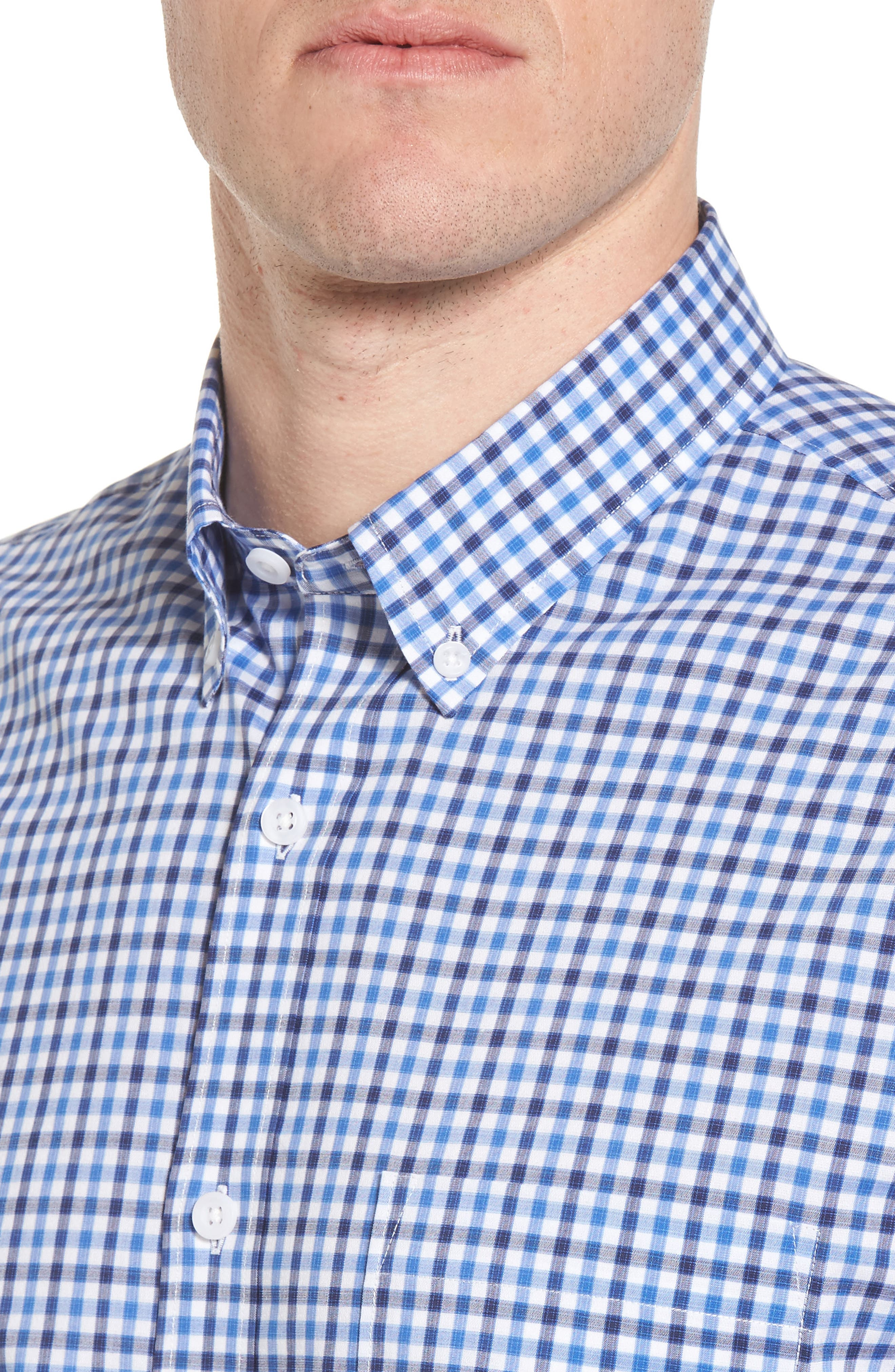 Tech-Smart Regular Fit Check Sport Shirt,                             Alternate thumbnail 2, color,                             Blue Camp Navy Check
