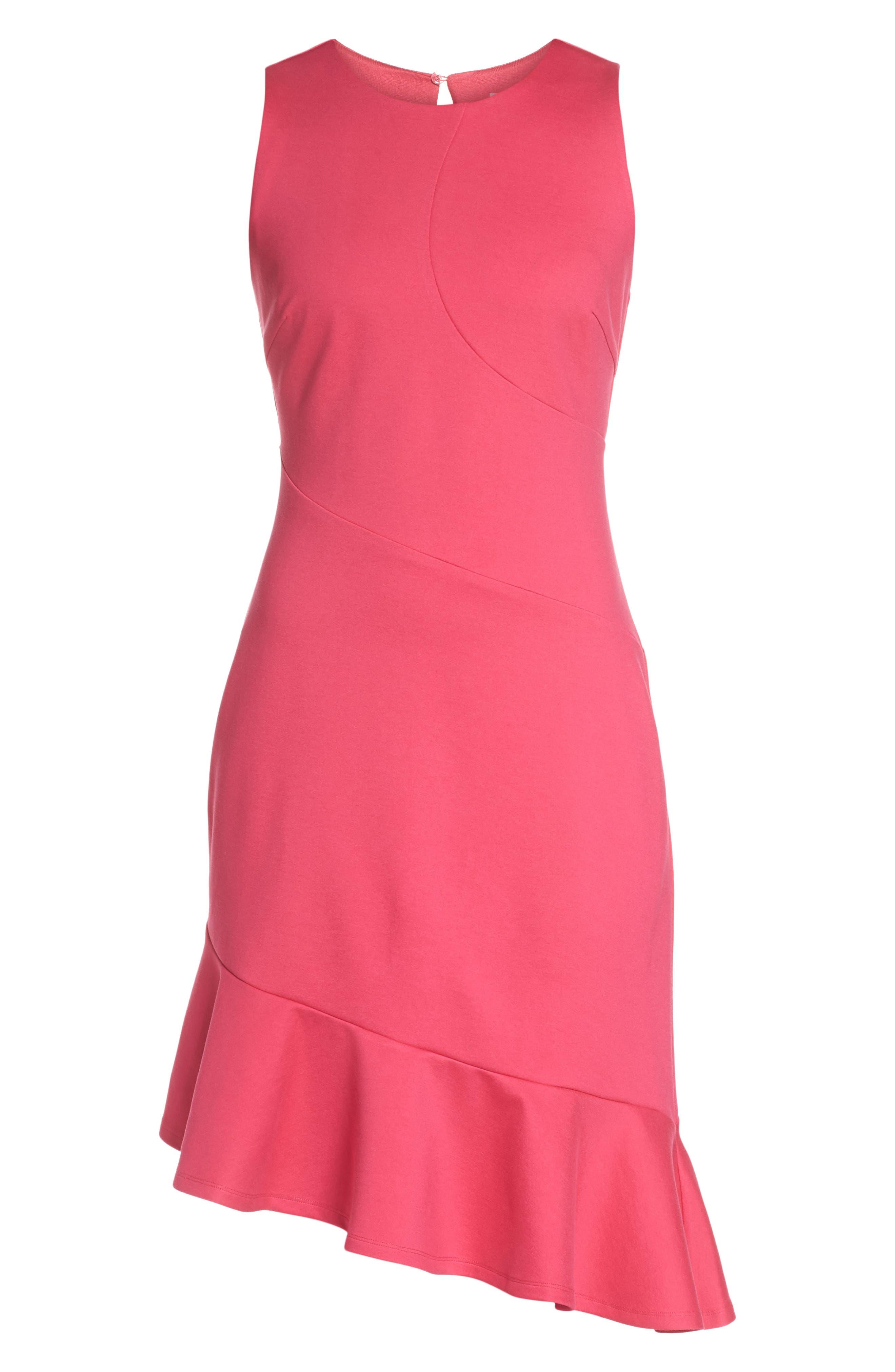 Asymmetric Sheath Dress,                             Alternate thumbnail 6, color,                             Pink Lilac