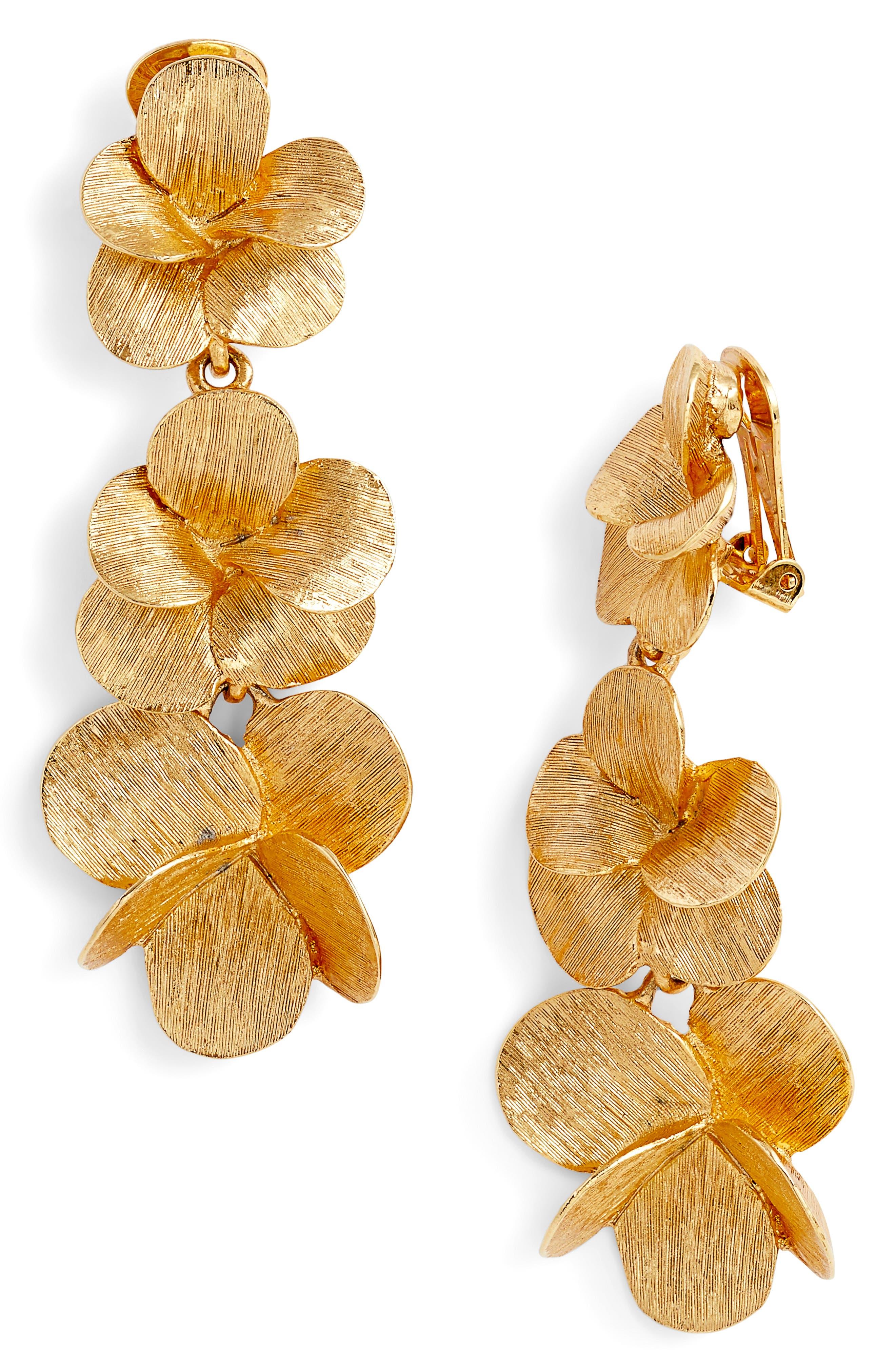Oscar de la Renta Clip Drop Earrings