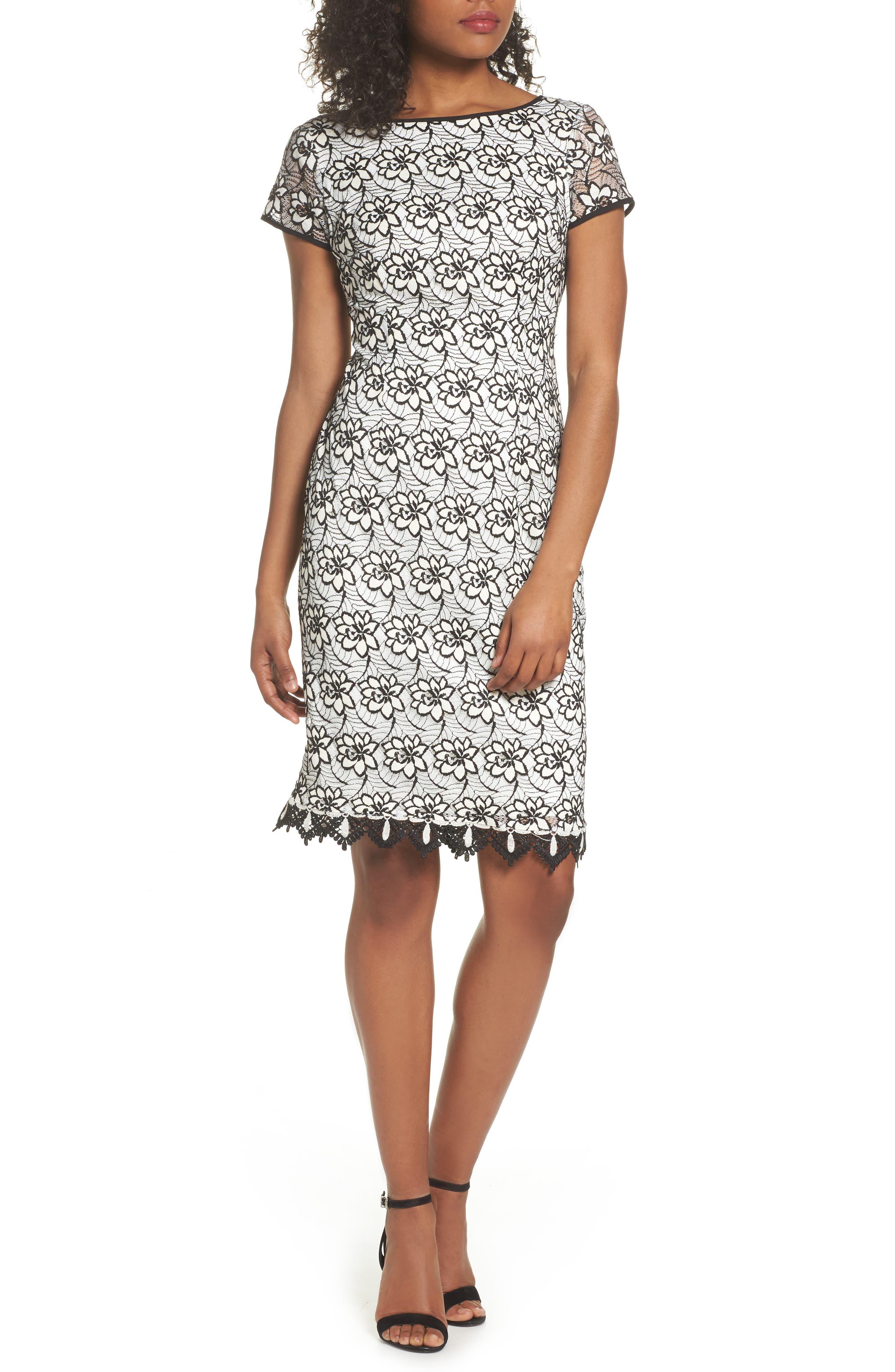 Lace Sheath Dress,                             Main thumbnail 1, color,                             Ivory/ Black