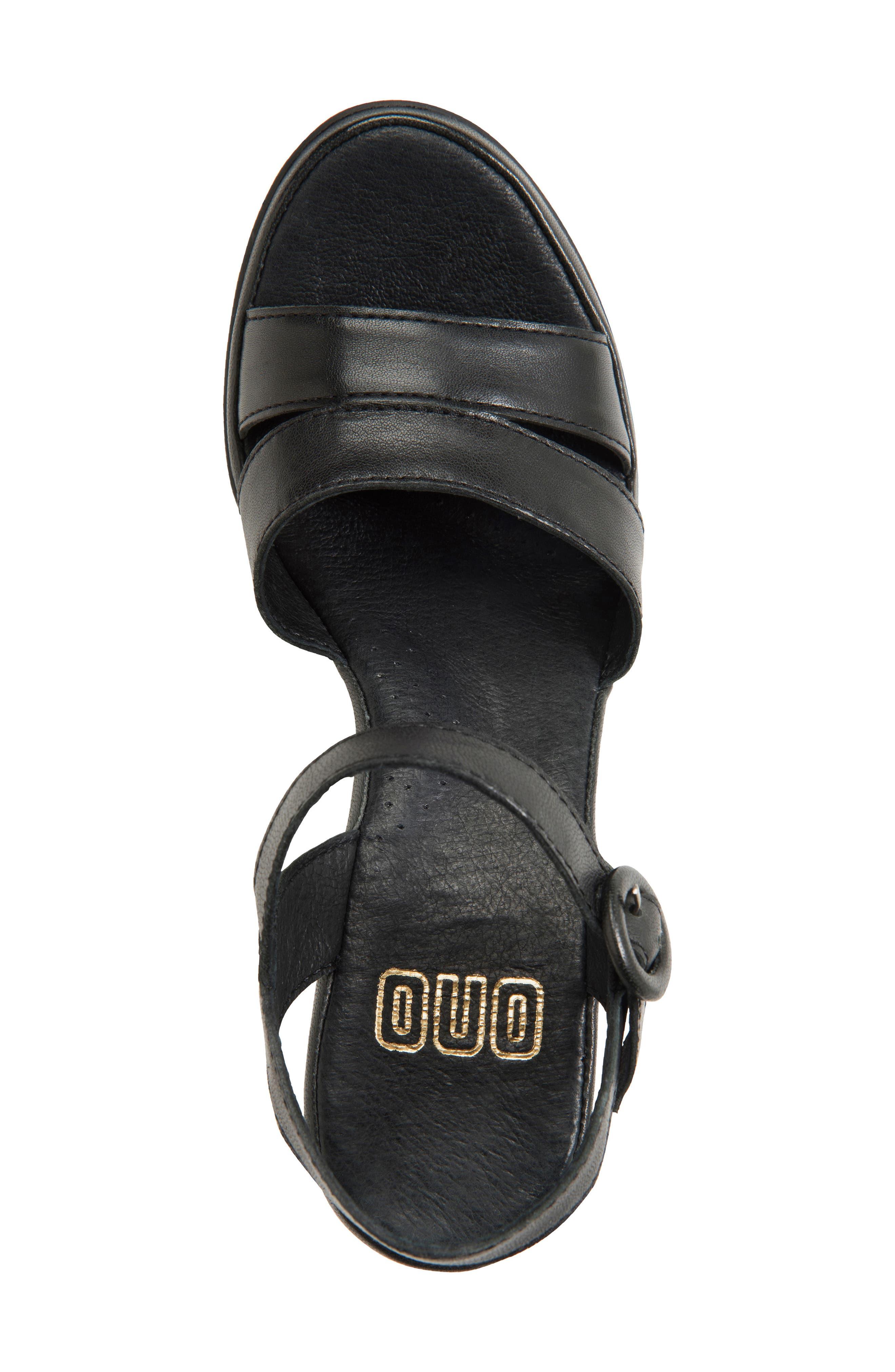 Hydro Wedge Sandal,                             Alternate thumbnail 3, color,                             Black Leather