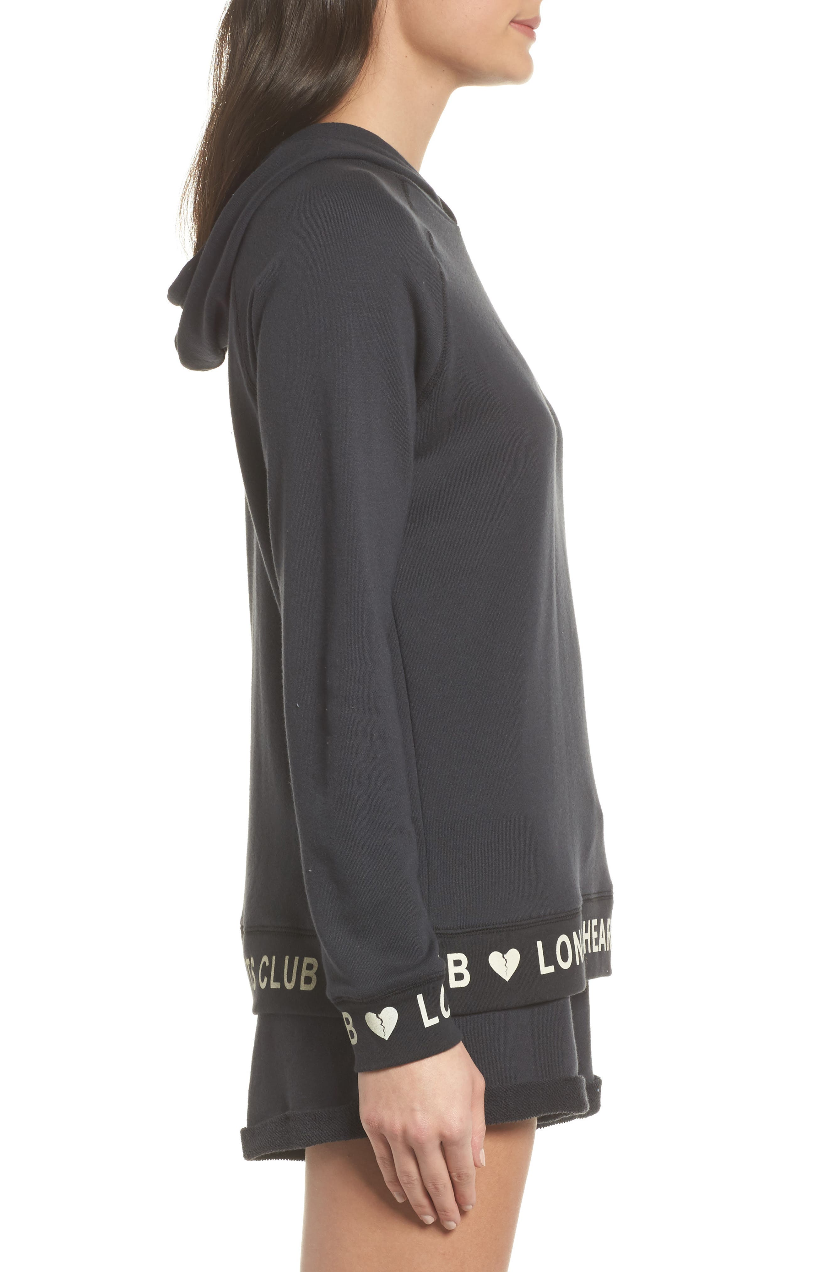 Lonely Hearts Club Hoodie,                             Alternate thumbnail 3, color,                             Jet Black