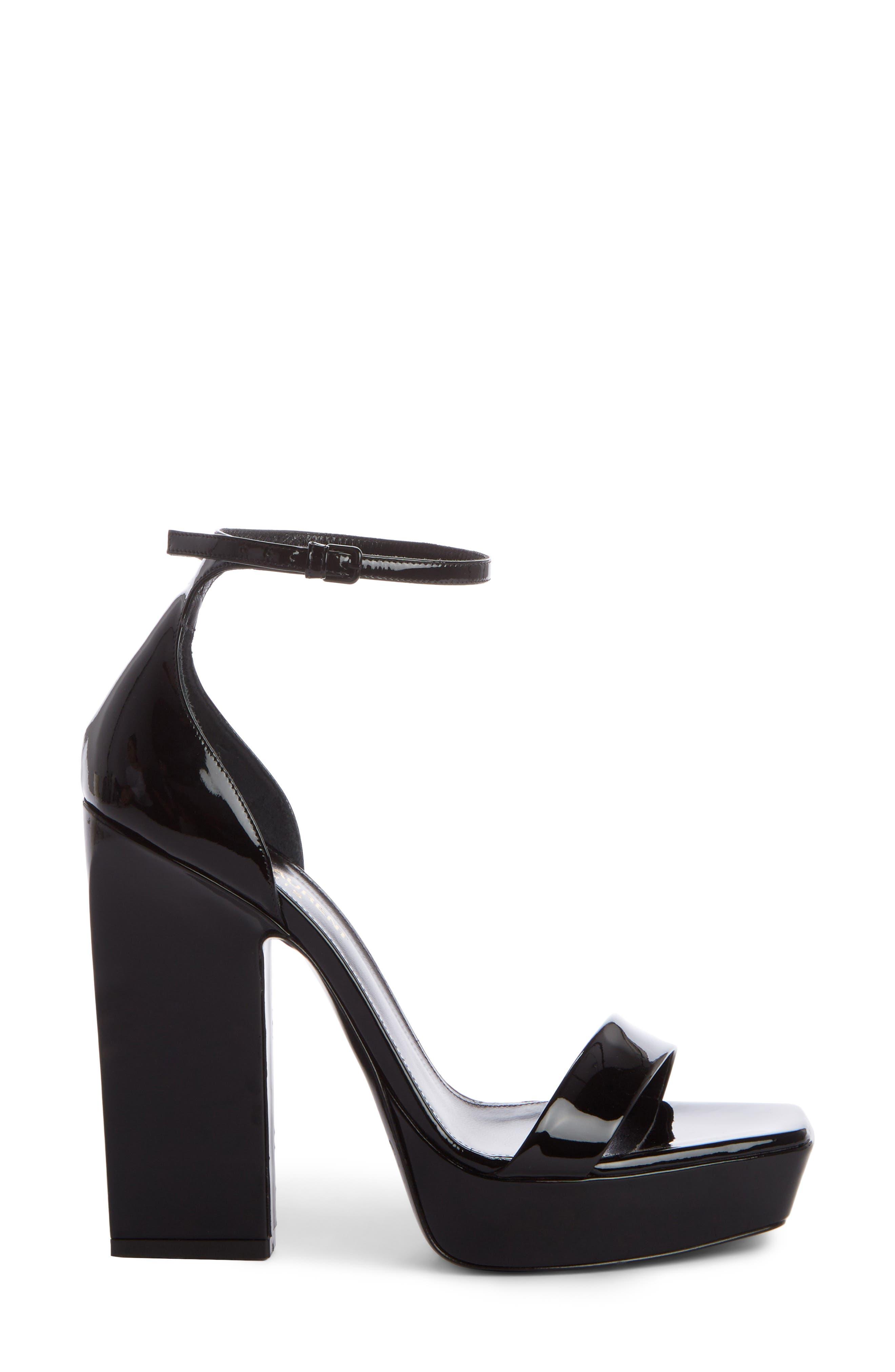 Debbie Platform Ankle Strap Sandal,                             Alternate thumbnail 4, color,                             Black