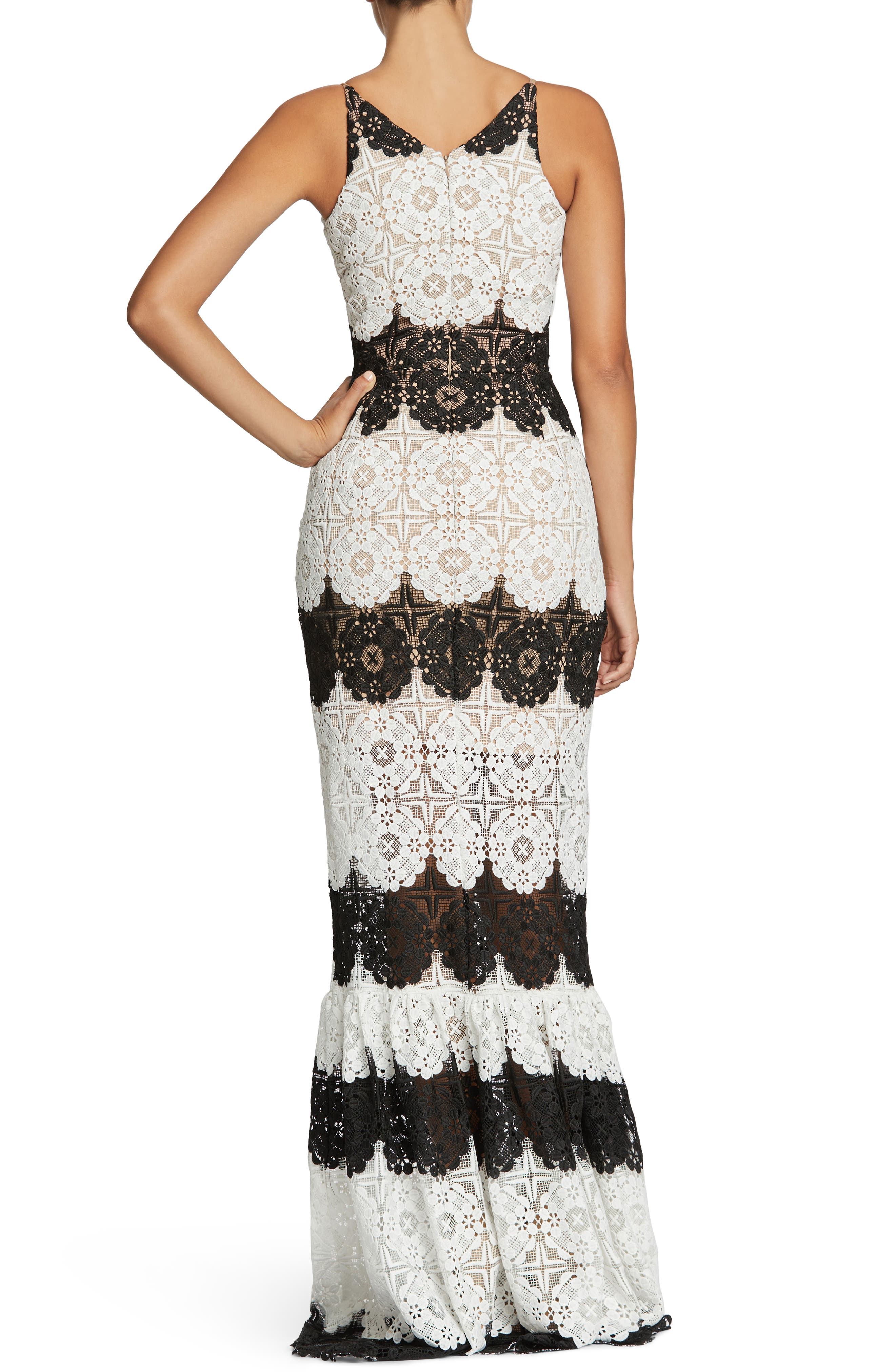 Candace Crochet Mermaid Gown,                             Alternate thumbnail 2, color,                             White/ Black