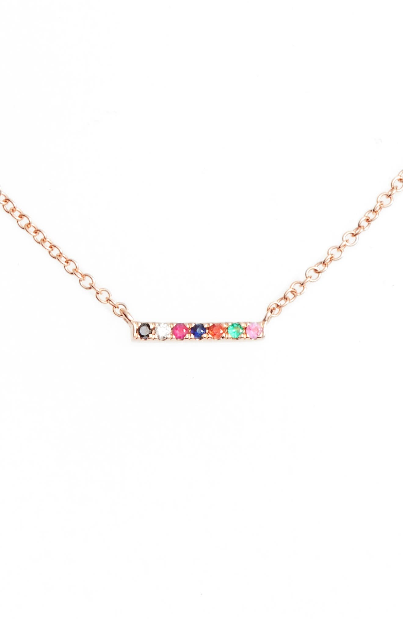 Mini Bar Rainbow Necklace,                             Main thumbnail 1, color,                             Rose Gold