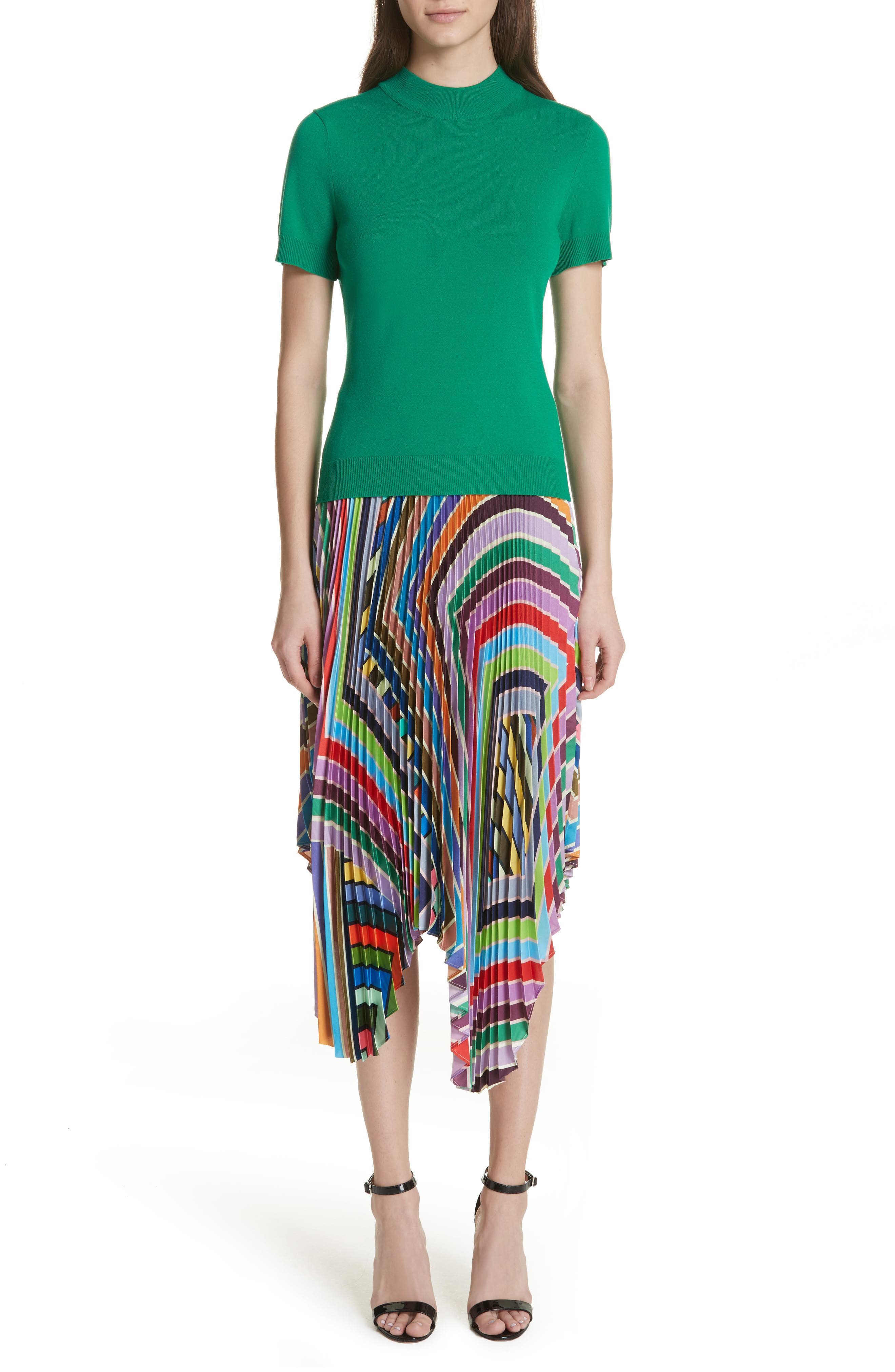 Stripe Pleated Handkerchief Skirt,                             Alternate thumbnail 5, color,                             Multi