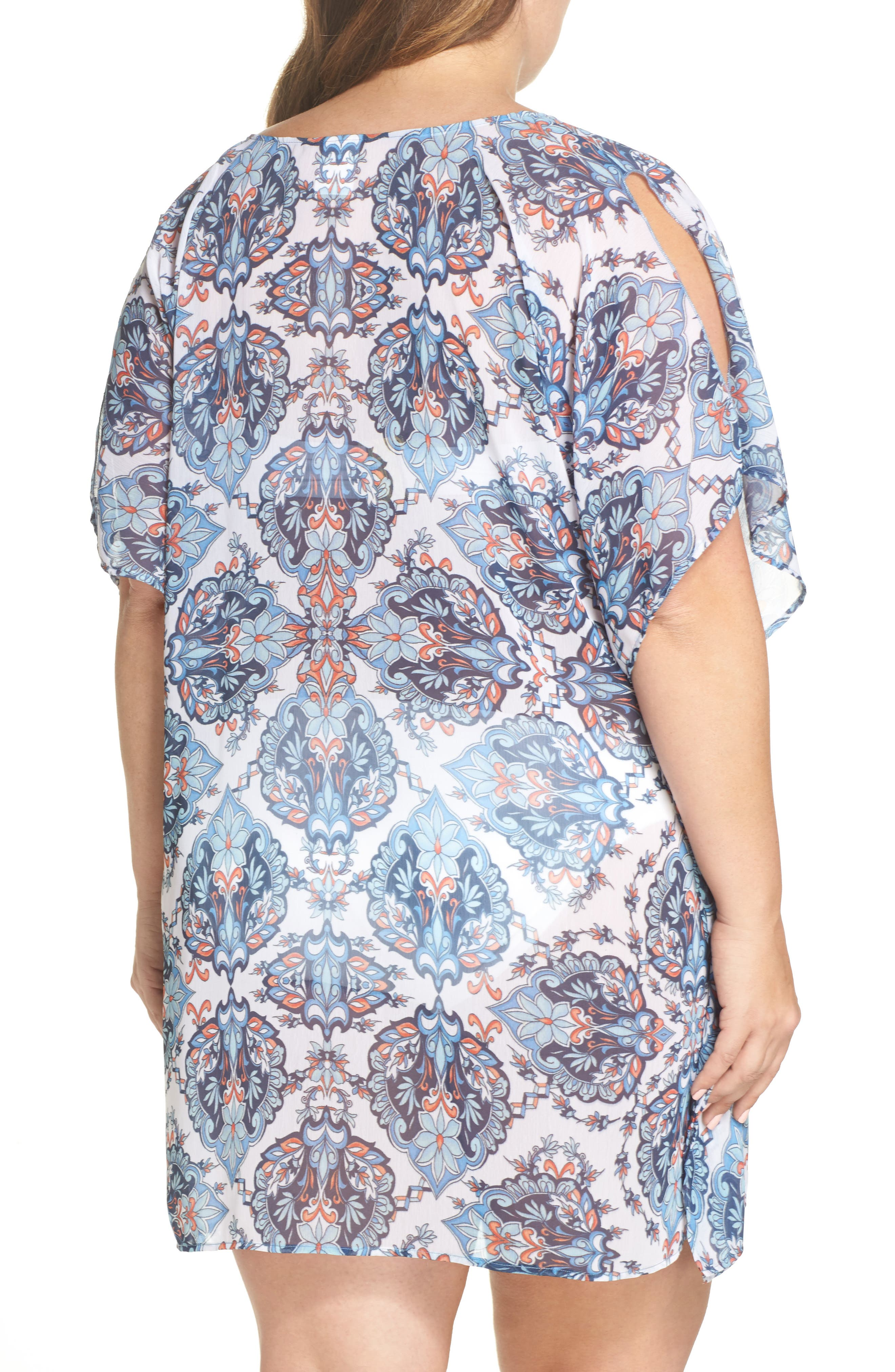 Naples Tunic Cover-Up,                             Alternate thumbnail 2, color,                             Navy Multi