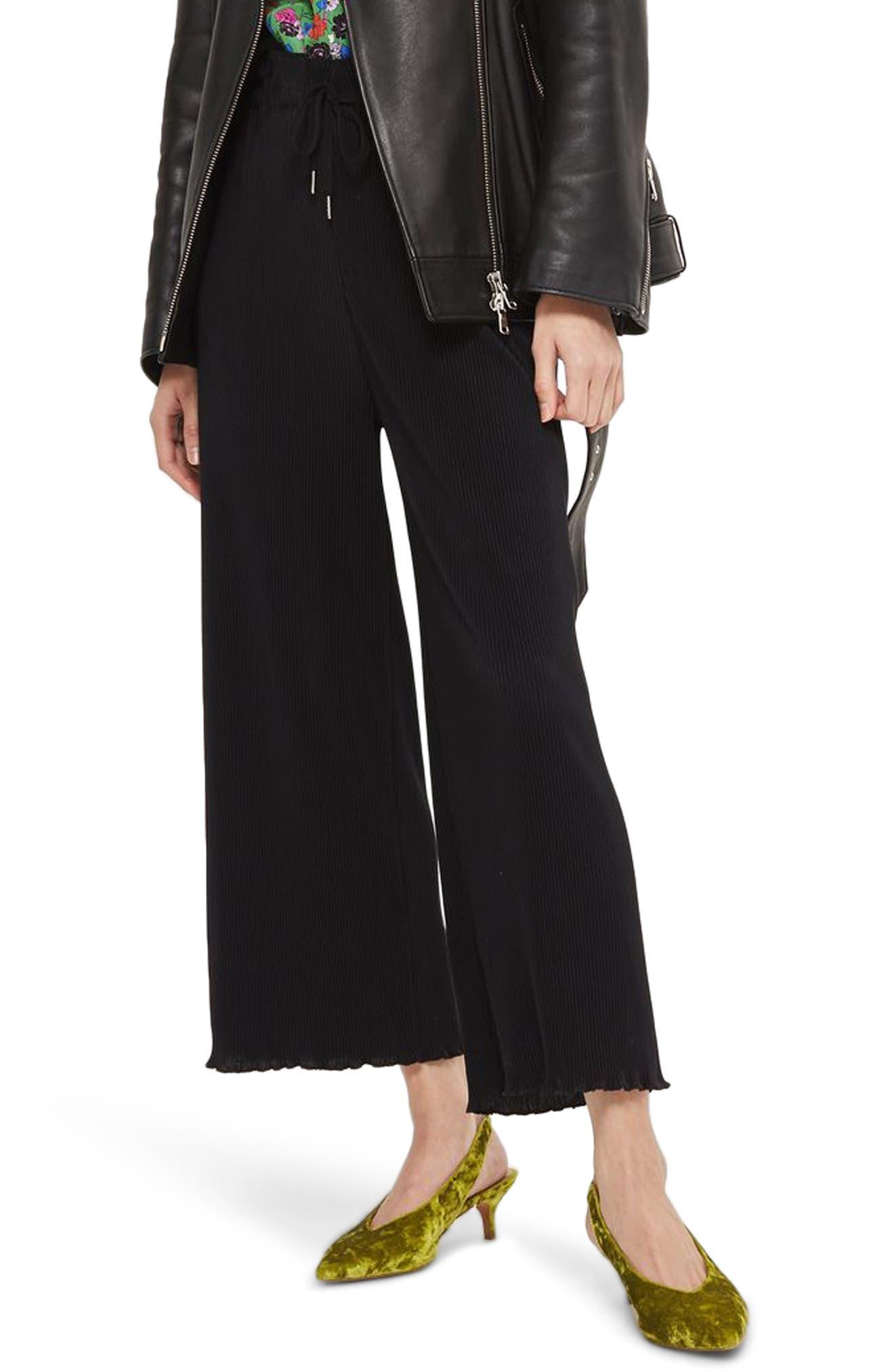 Lettuce Hem Plissé Trousers,                         Main,                         color, Black