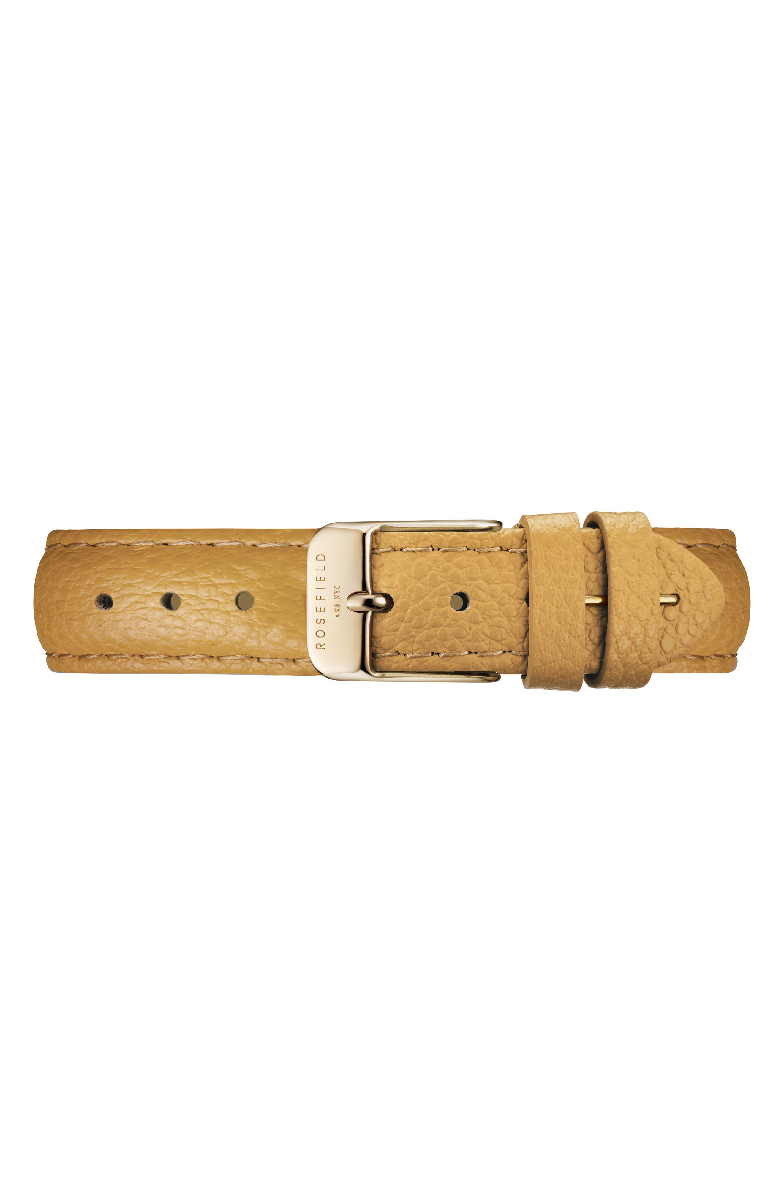 The September Issue Leather Strap Watch, 33mm,                             Alternate thumbnail 5, color,                             Yellow/ Gold