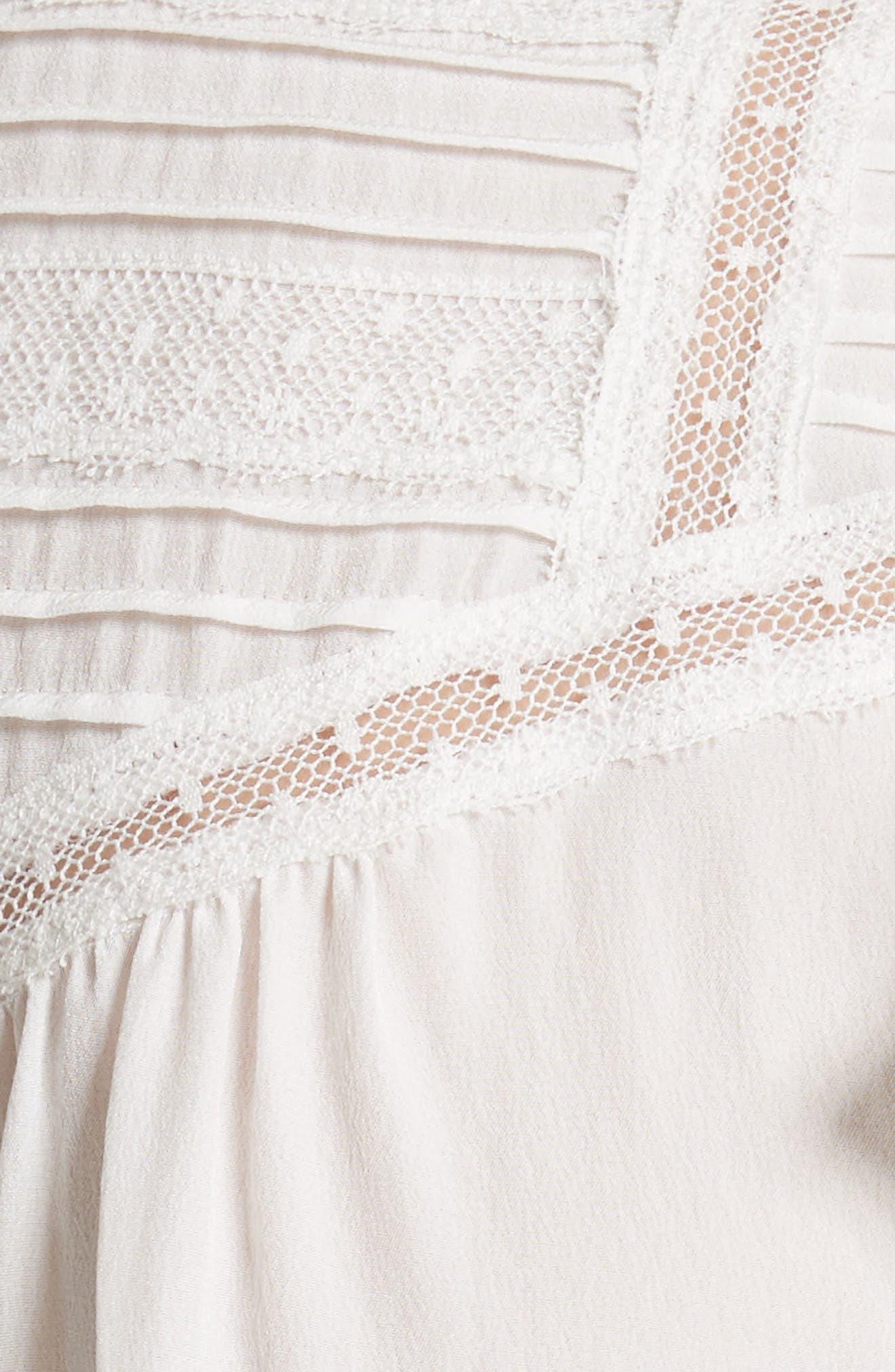 Ruffled Silk Top,                             Alternate thumbnail 5, color,                             Snow