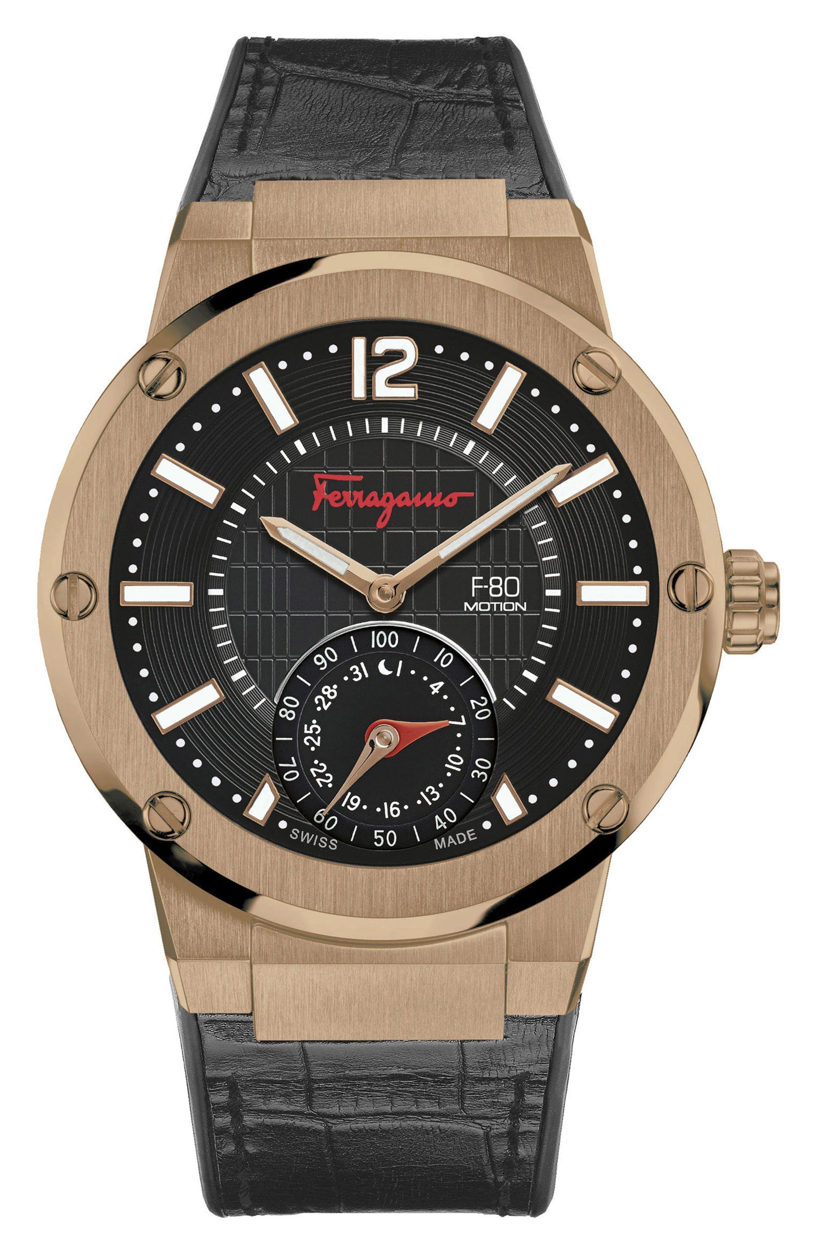 Alternate Image 1 Selected - Salvatore Ferragamo 'F-80 Motion' Leather Strap Smart Watch, 44mm