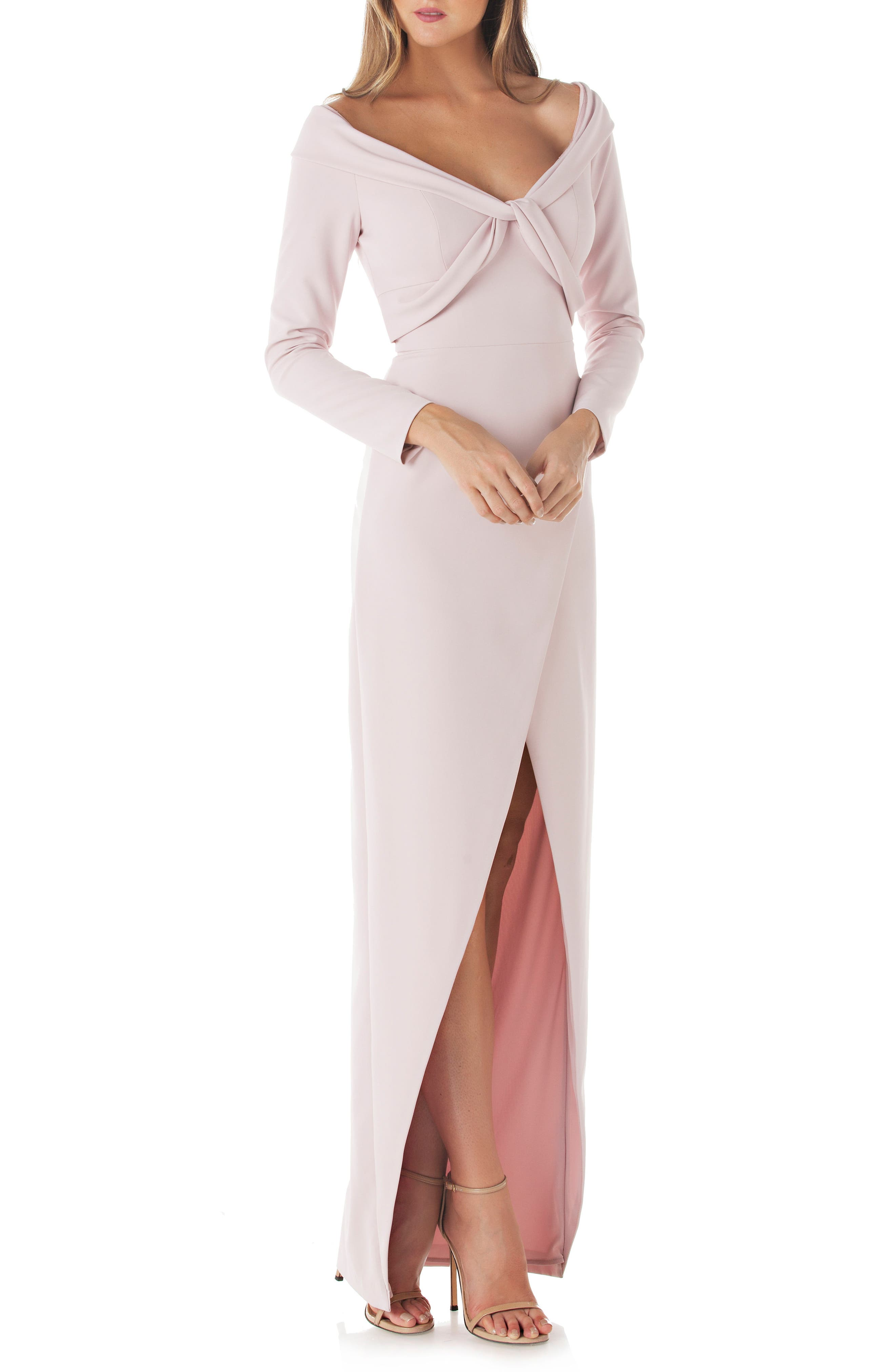 Cross Front Gown,                             Main thumbnail 1, color,                             Blush