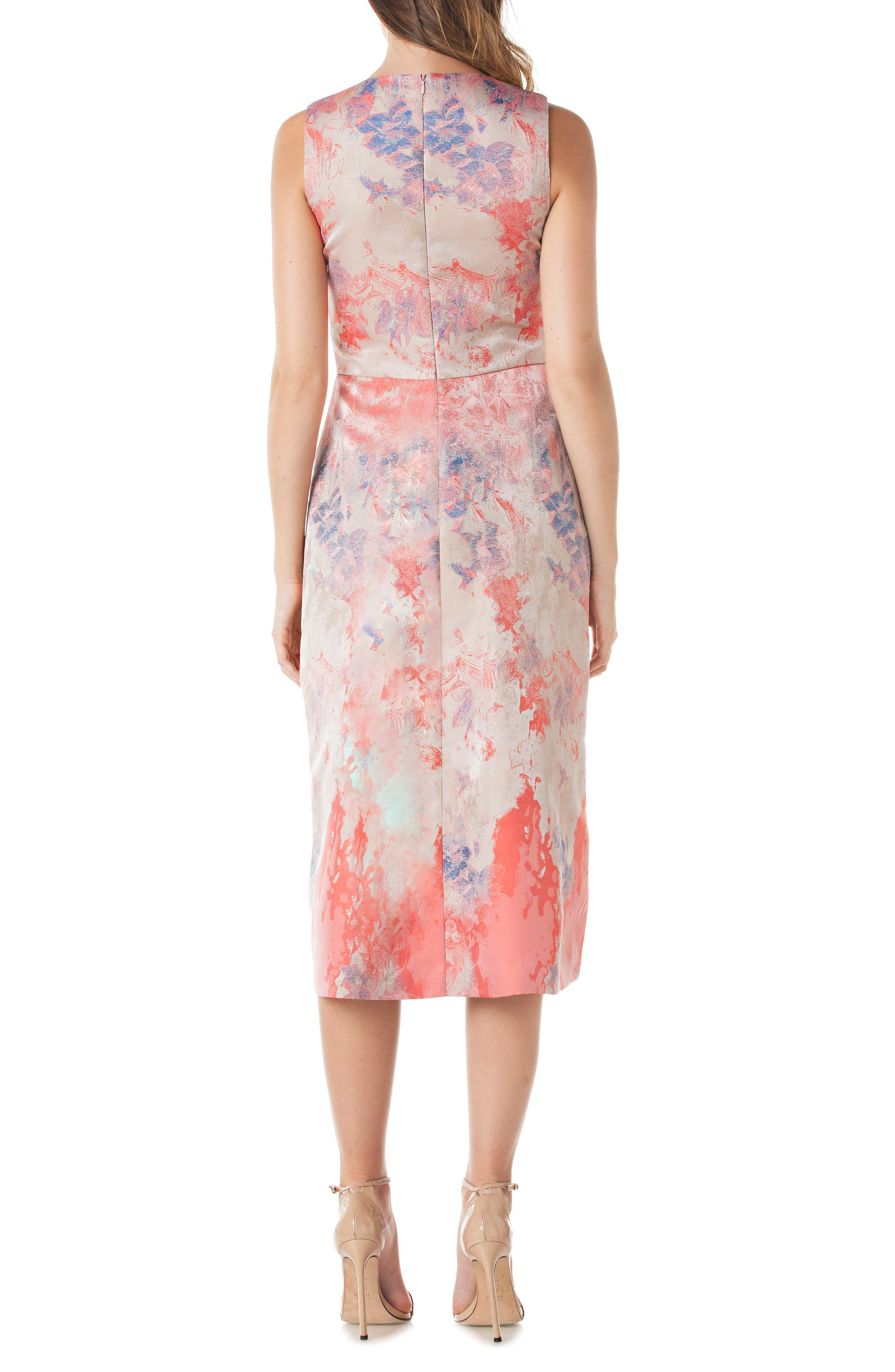 Floral Pleat Midi Dress,                             Alternate thumbnail 2, color,                             Champaign Multi