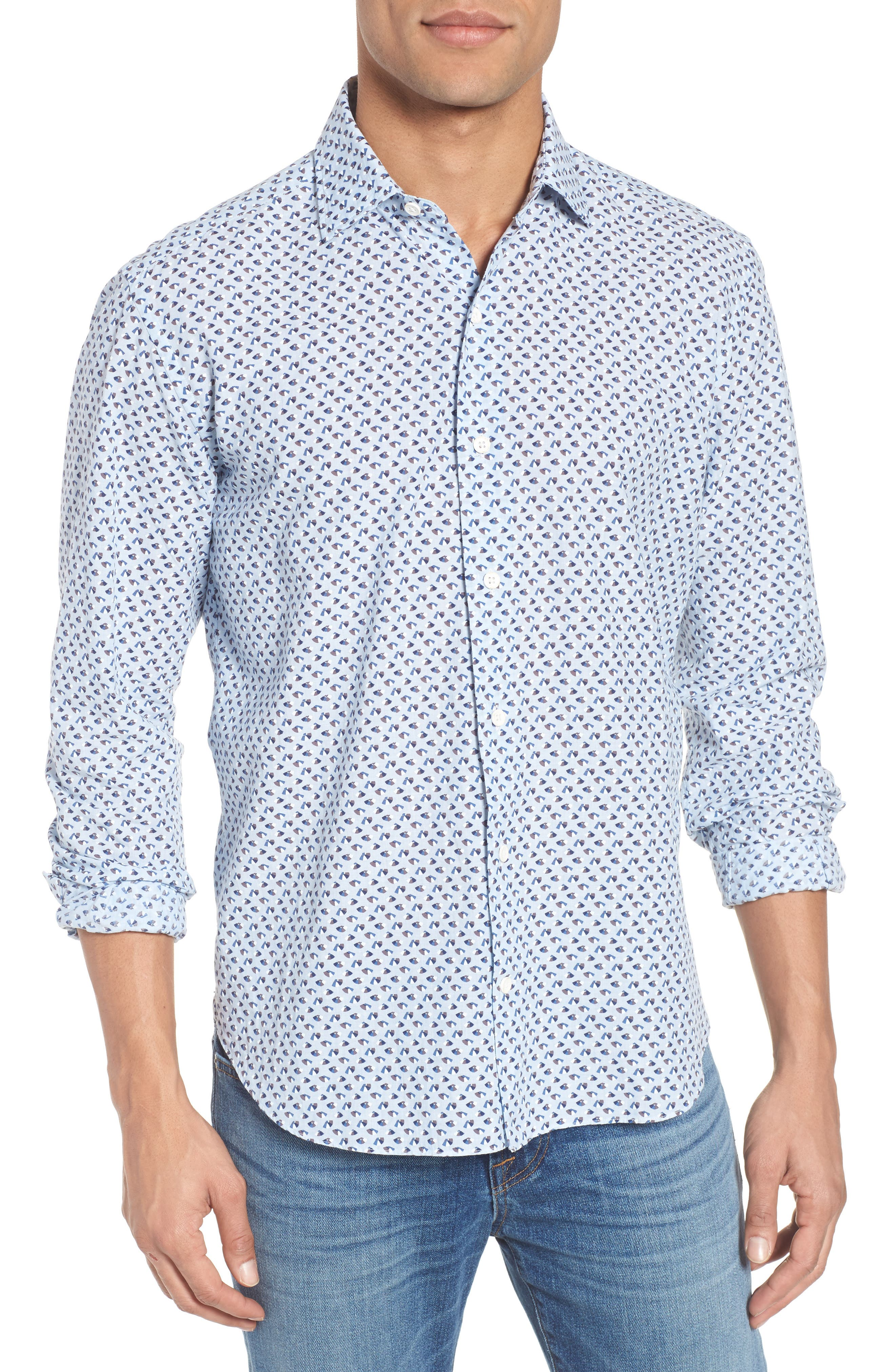 Slim Fit Print Cotton & Linen Sport Shirt,                         Main,                         color, Blue