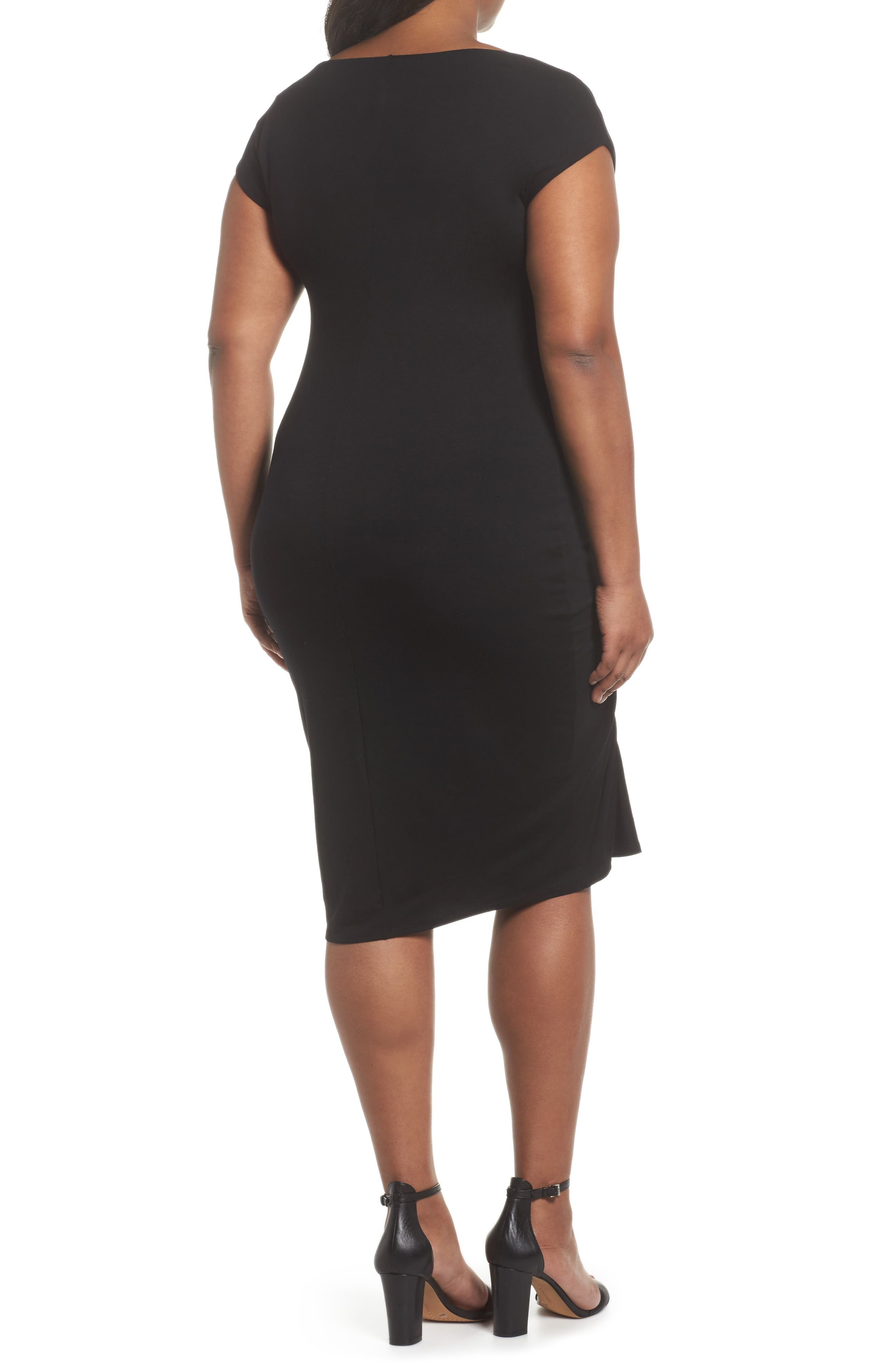 Side Ruched Sheath Dress,                             Alternate thumbnail 3, color,                             Rich Black