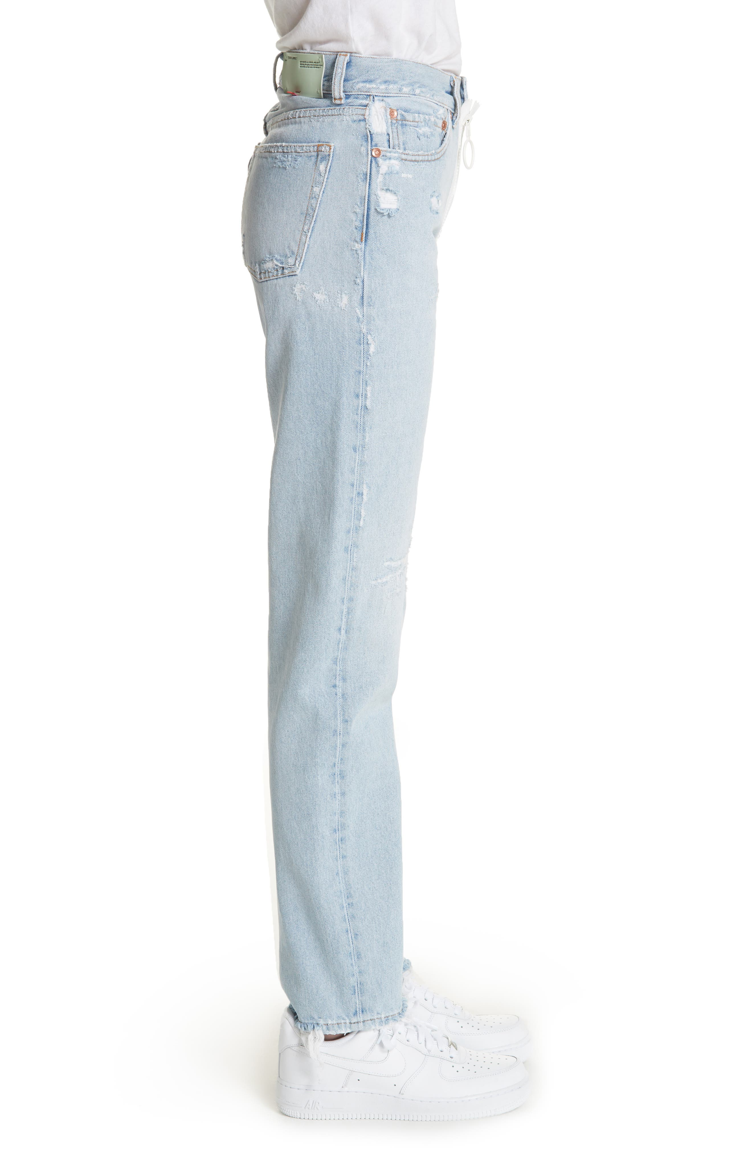 Alternate Image 3  - Off-White Distressed Straight Leg Jeans (Bleach/White)