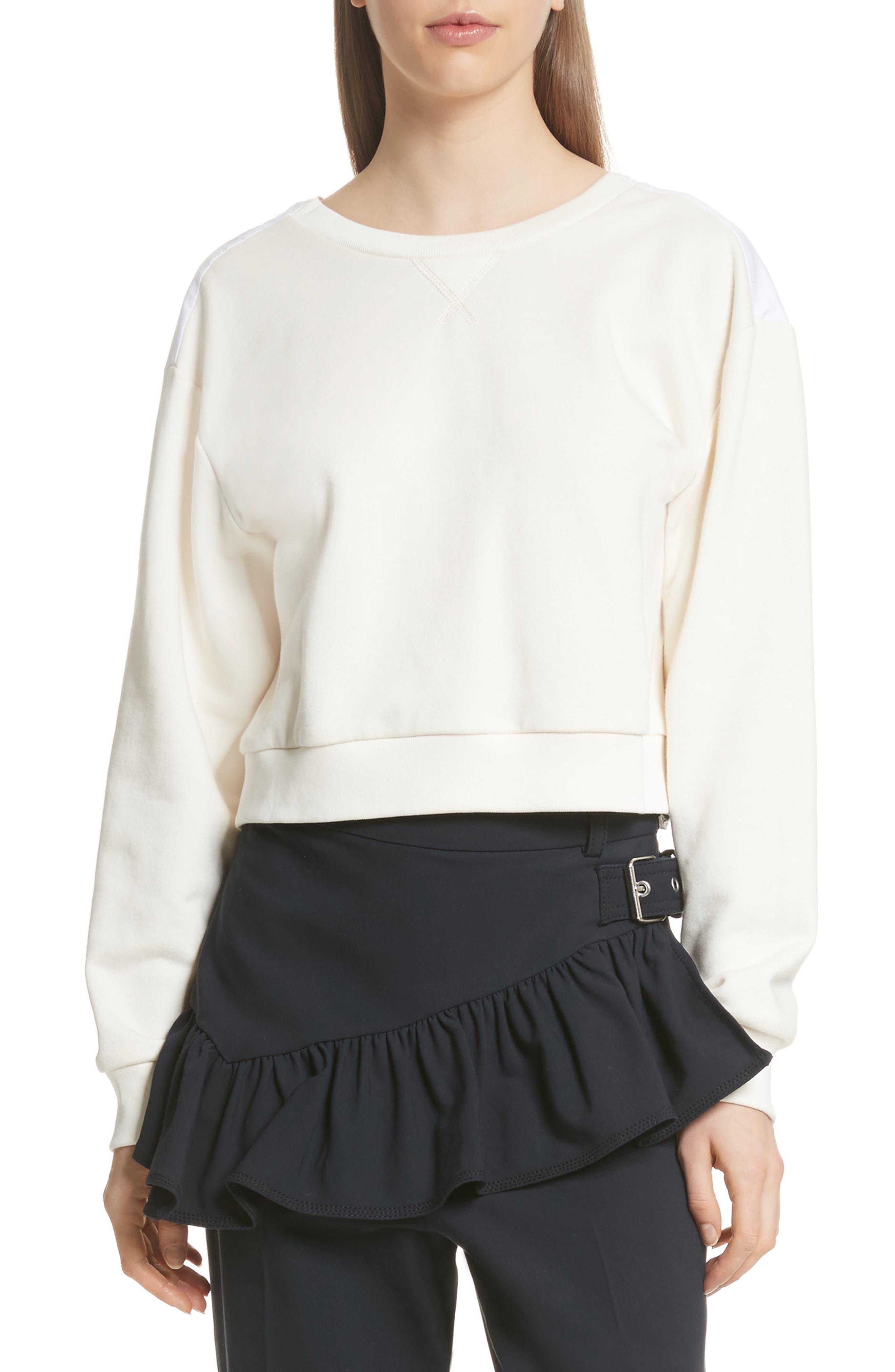 Tie Back Crop Sweatshirt,                         Main,                         color, Ecru
