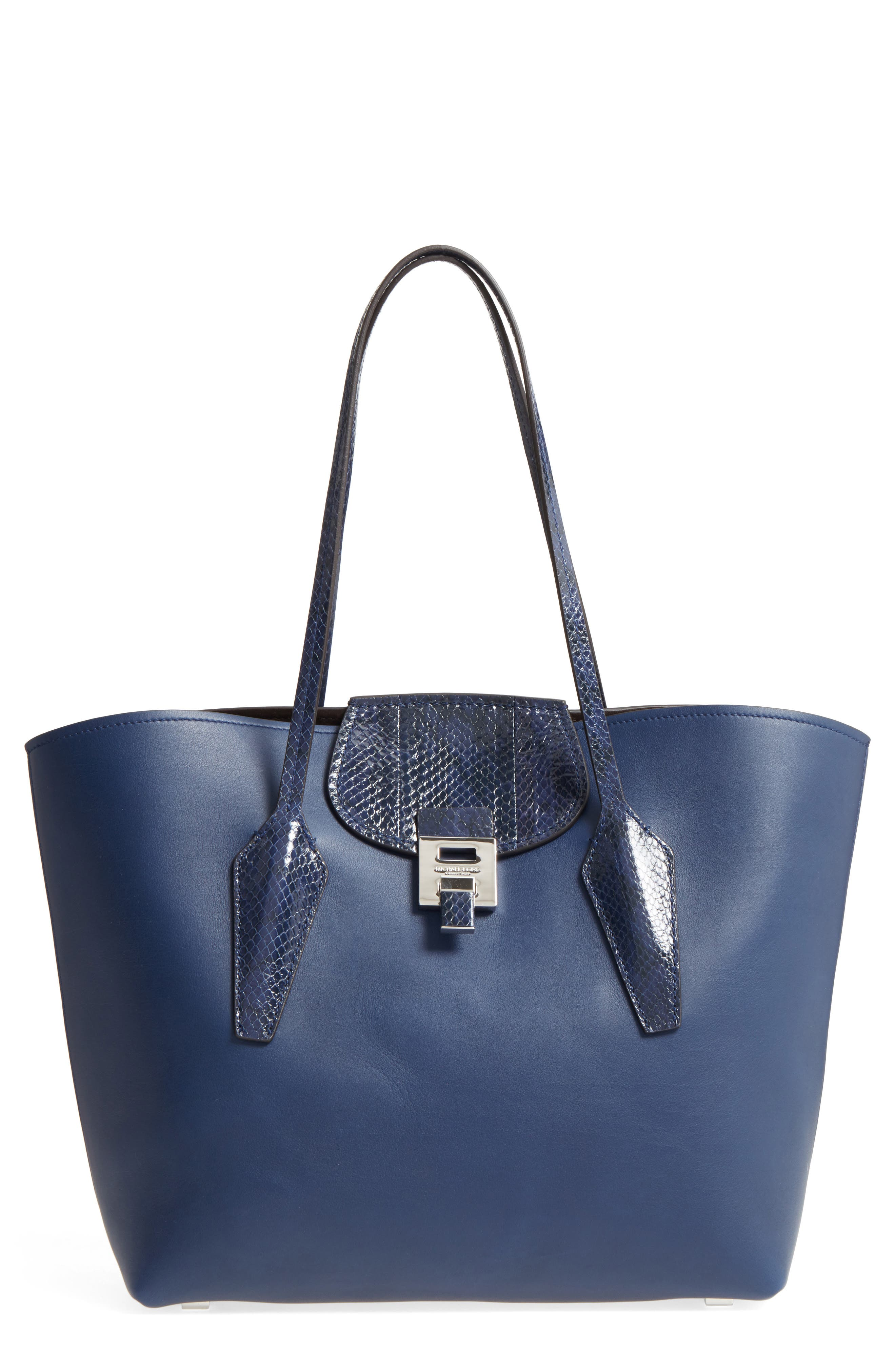 Large Bancroft Leather Tote with Genuine Snakeskin Trim,                         Main,                         color, Sapphire