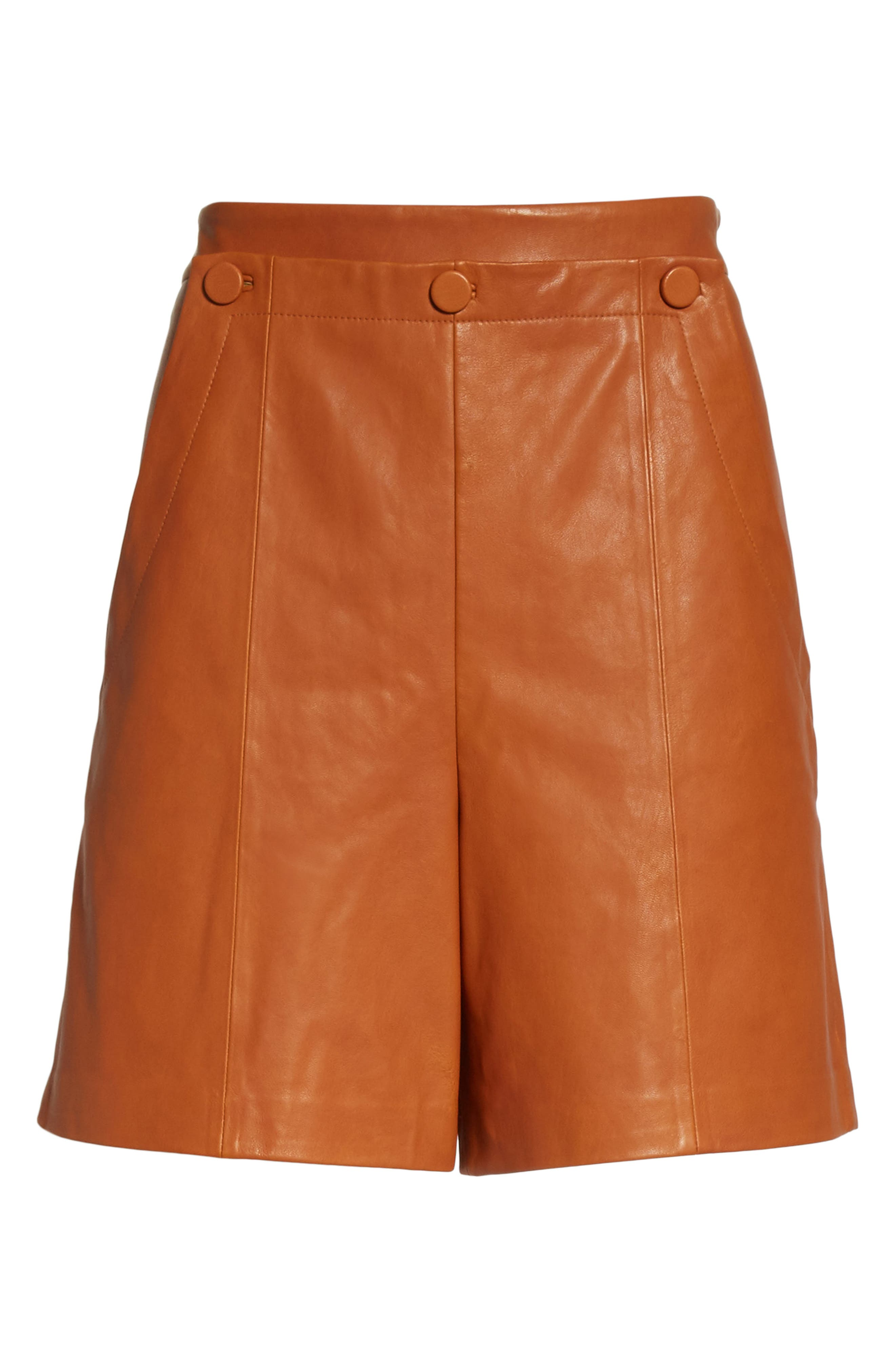 Leather Sailor Shorts,                             Alternate thumbnail 6, color,                             Ginger