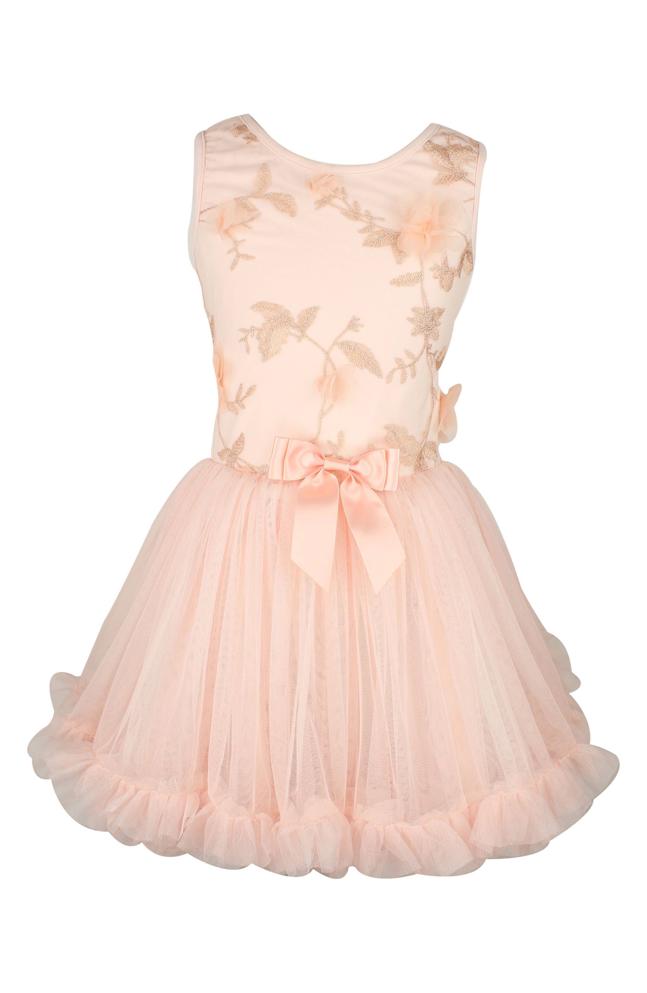 Embroidered Flower Dress,                         Main,                         color, Dusty