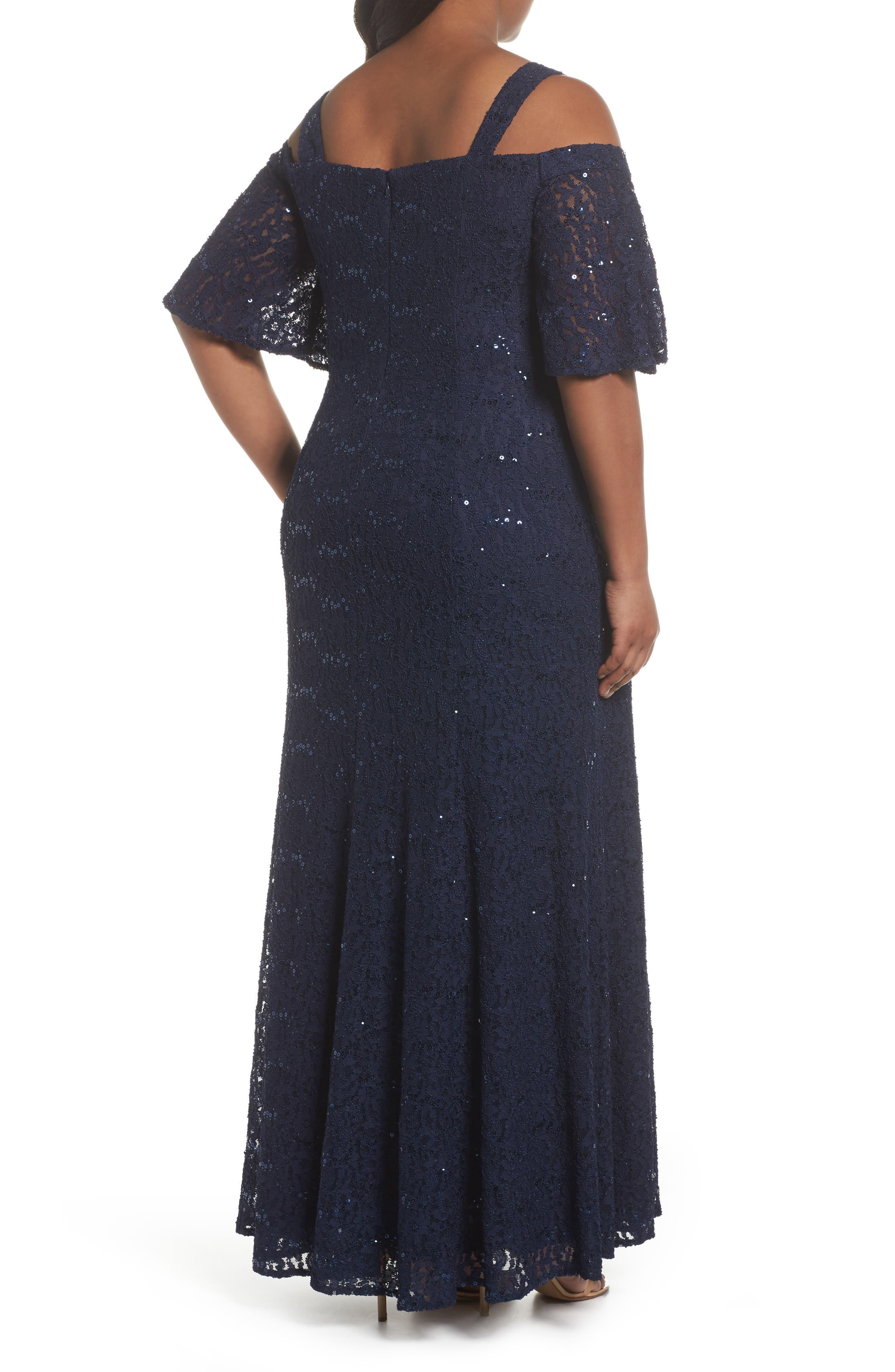 Embellished Lace Cold Shoulder Gown,                             Alternate thumbnail 2, color,                             Navy