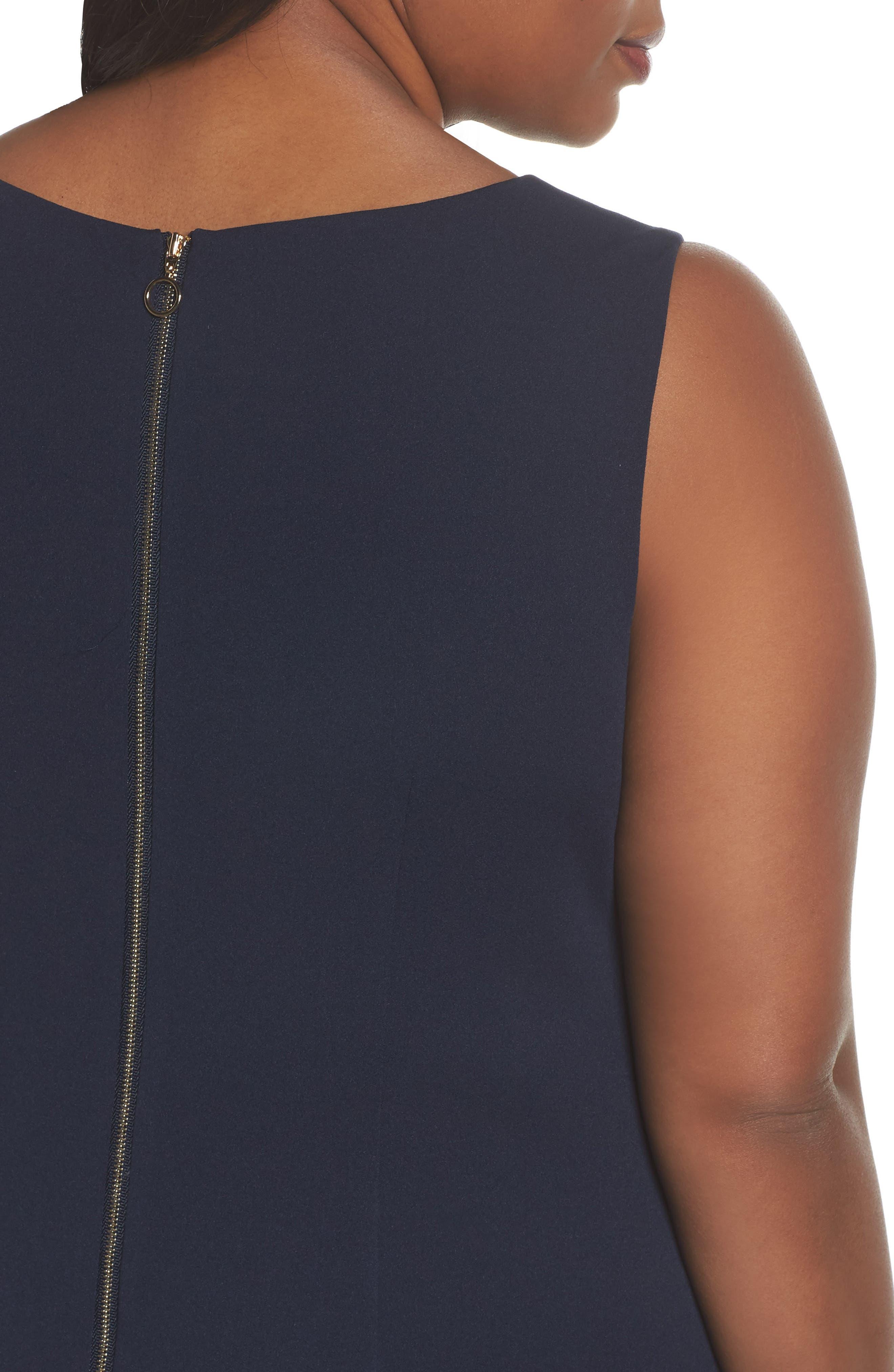 Crepe Flounce Dress,                             Alternate thumbnail 4, color,                             Blue Moon