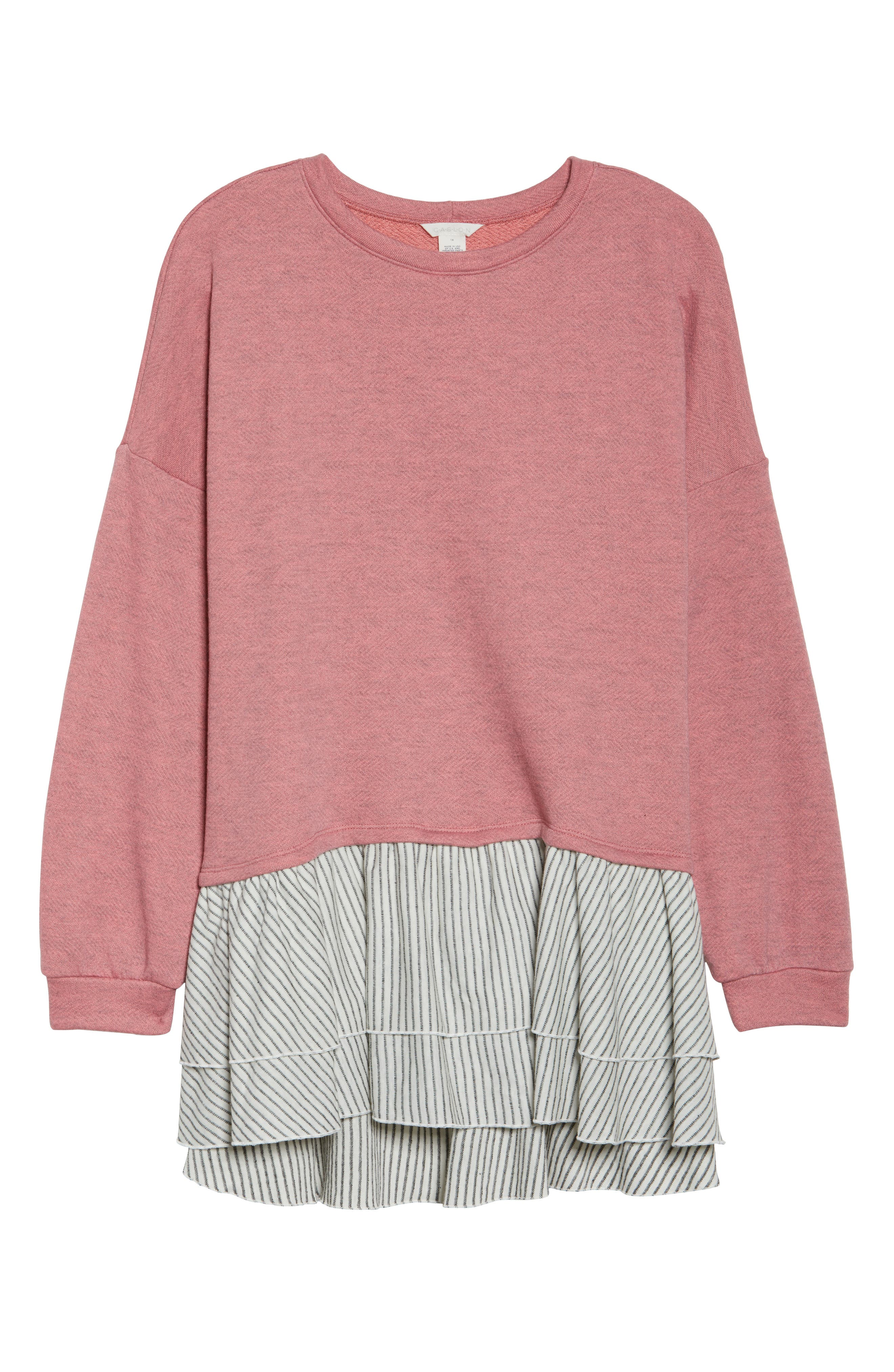 Layered Look Sweatshirt,                             Alternate thumbnail 6, color,                             Coral- Navy Stripe Colorblock
