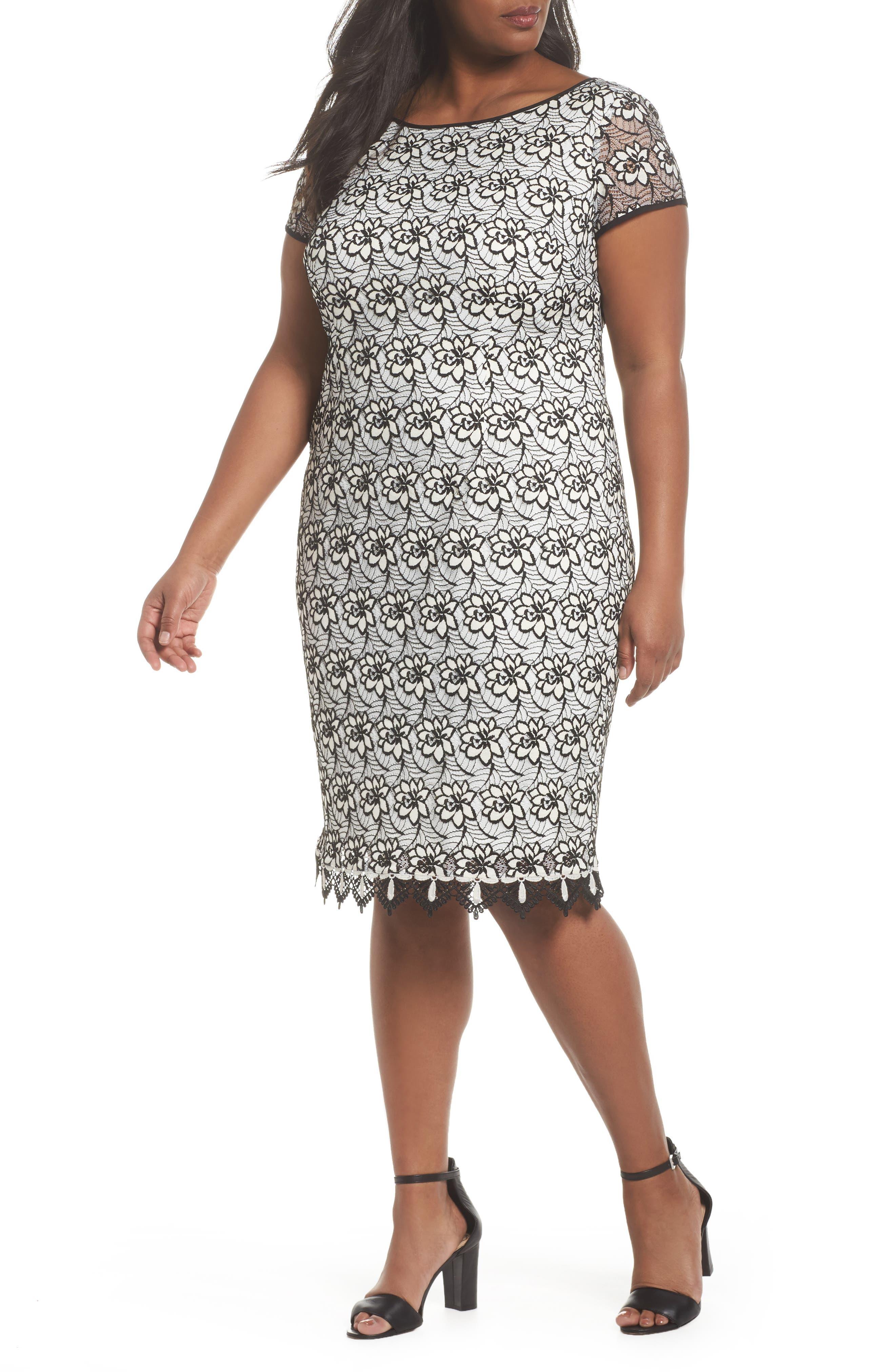 Lace Trim Sheath Dress,                             Main thumbnail 1, color,                             Ivory/ Black