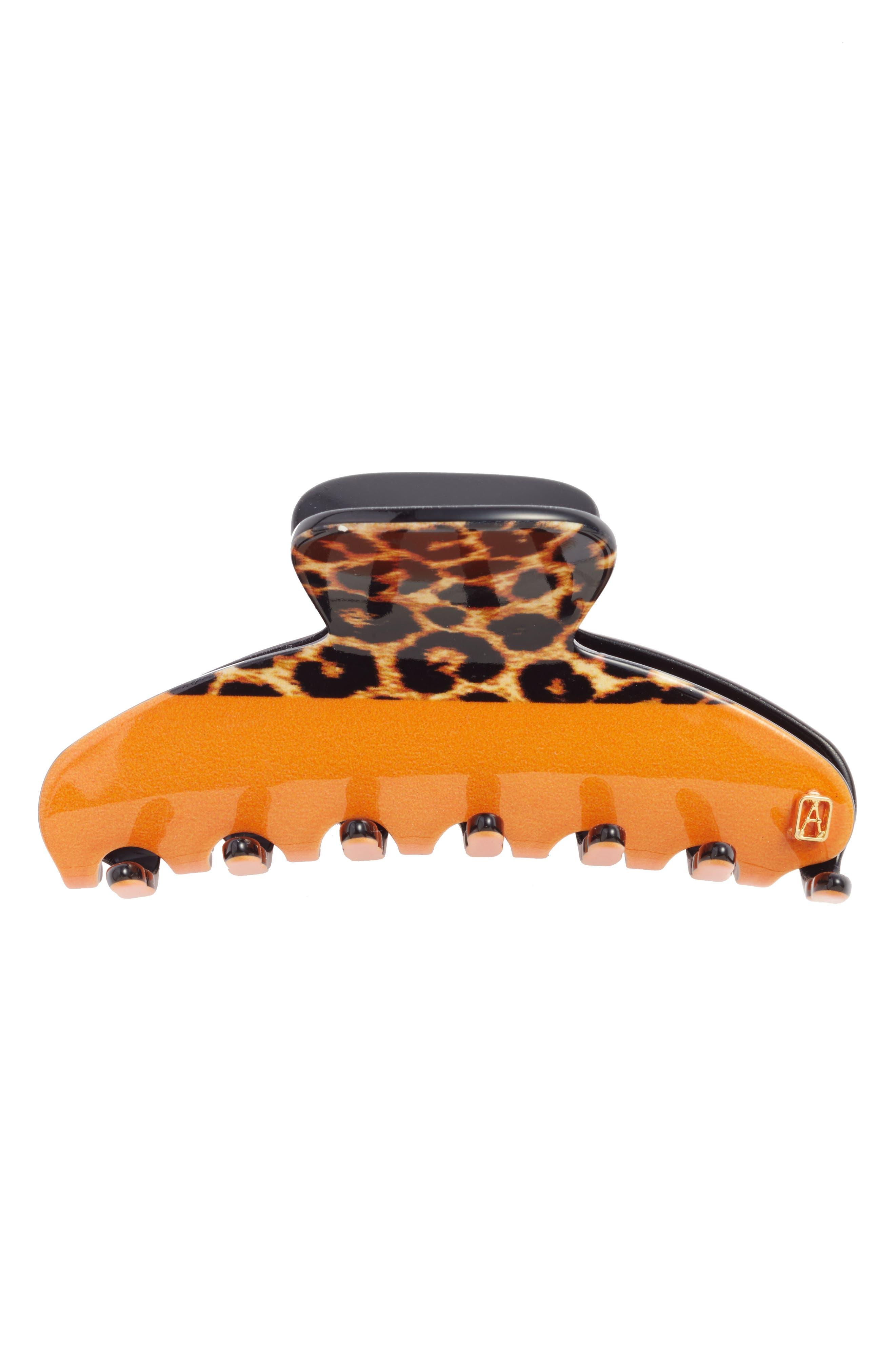 Alexandre de Paris Vendome Leopard Print Hair Clip
