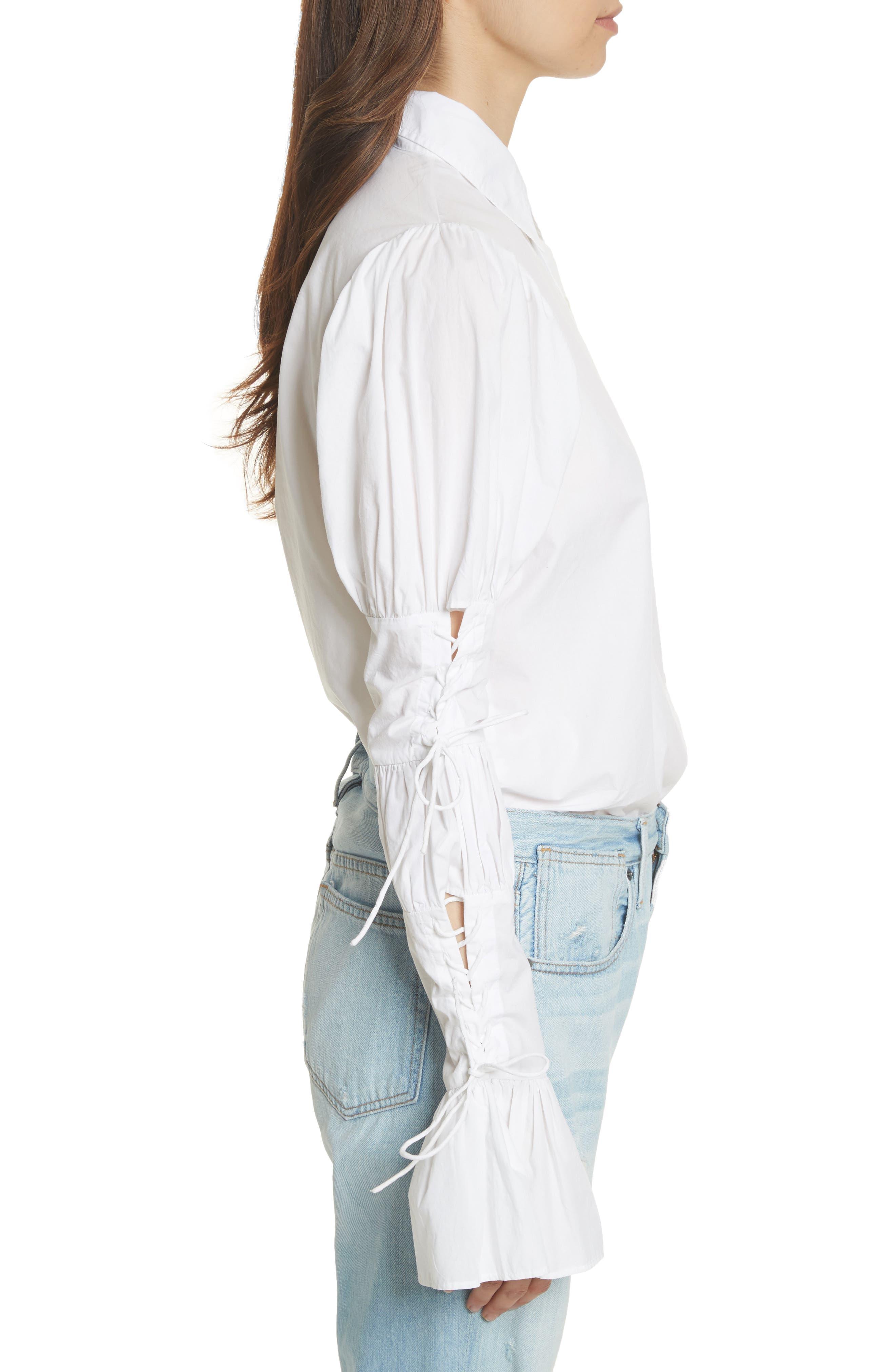 Lace-Up Sleeve Cotton Shirt,                             Alternate thumbnail 3, color,                             Blanc