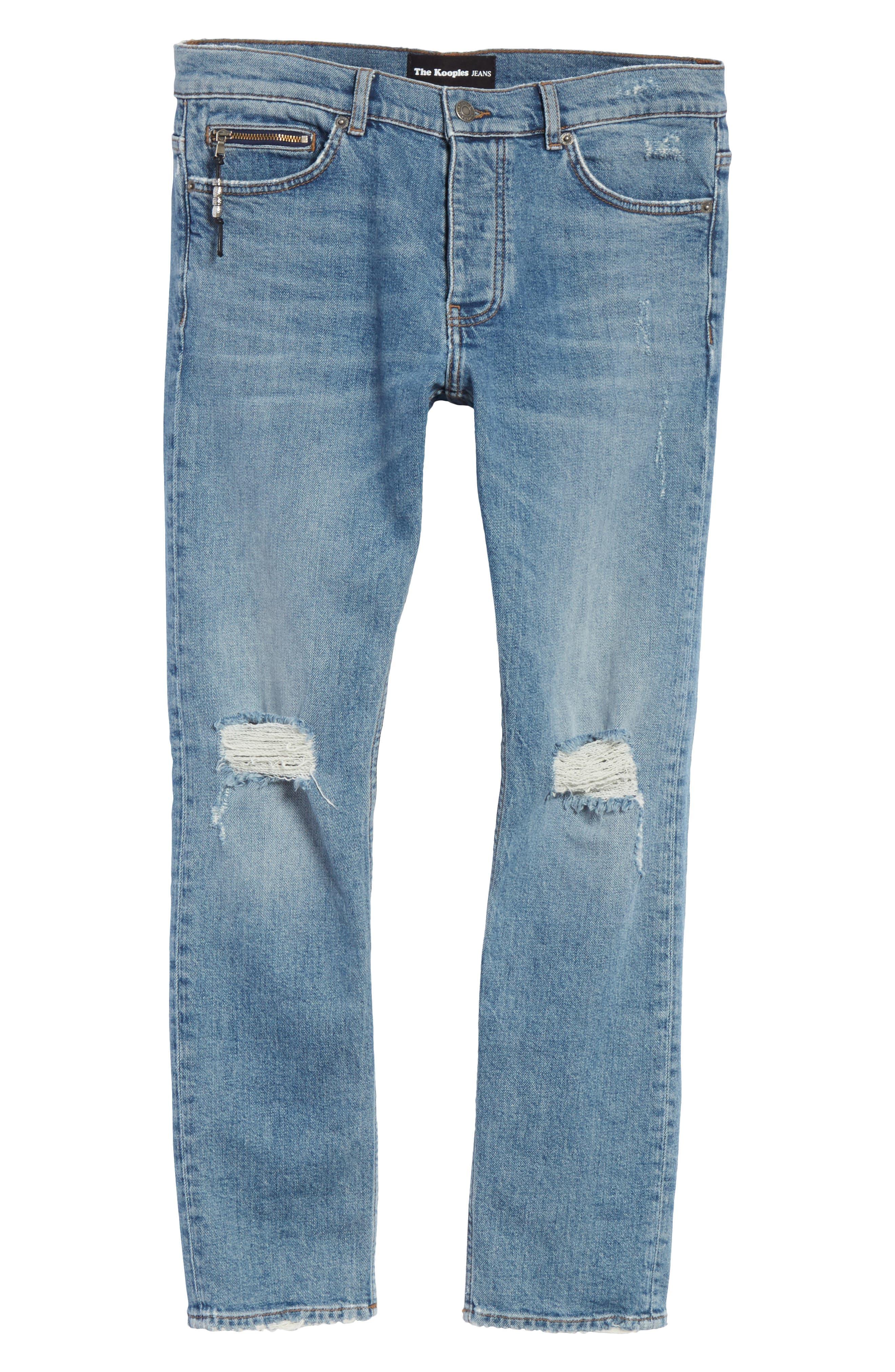 Destroyed Skinny Fit Jeans,                             Alternate thumbnail 6, color,                             Blu 88