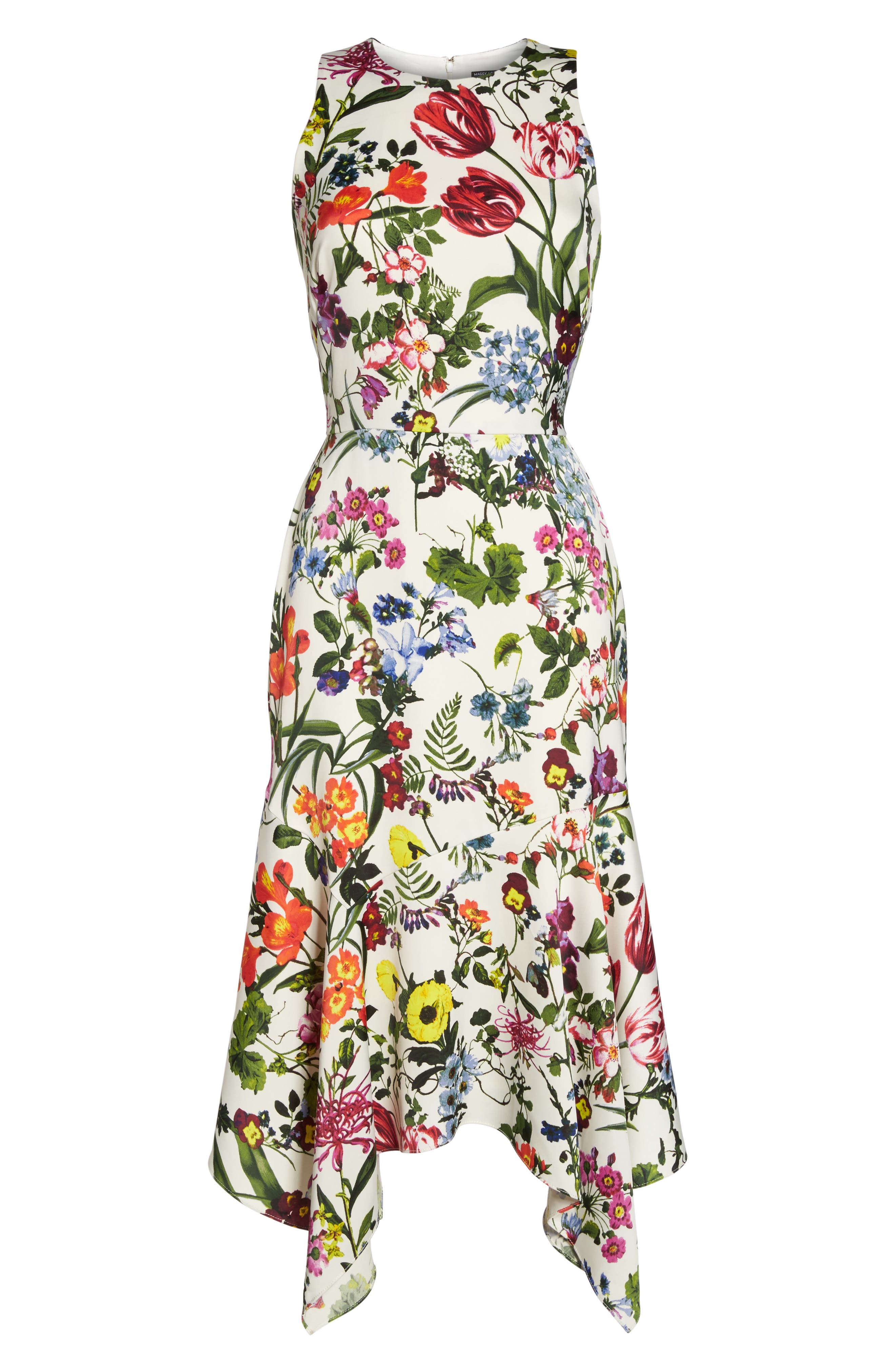 Botanical Print Charmeuse Midi Dress,                             Alternate thumbnail 6, color,                             Soft White/ Multi