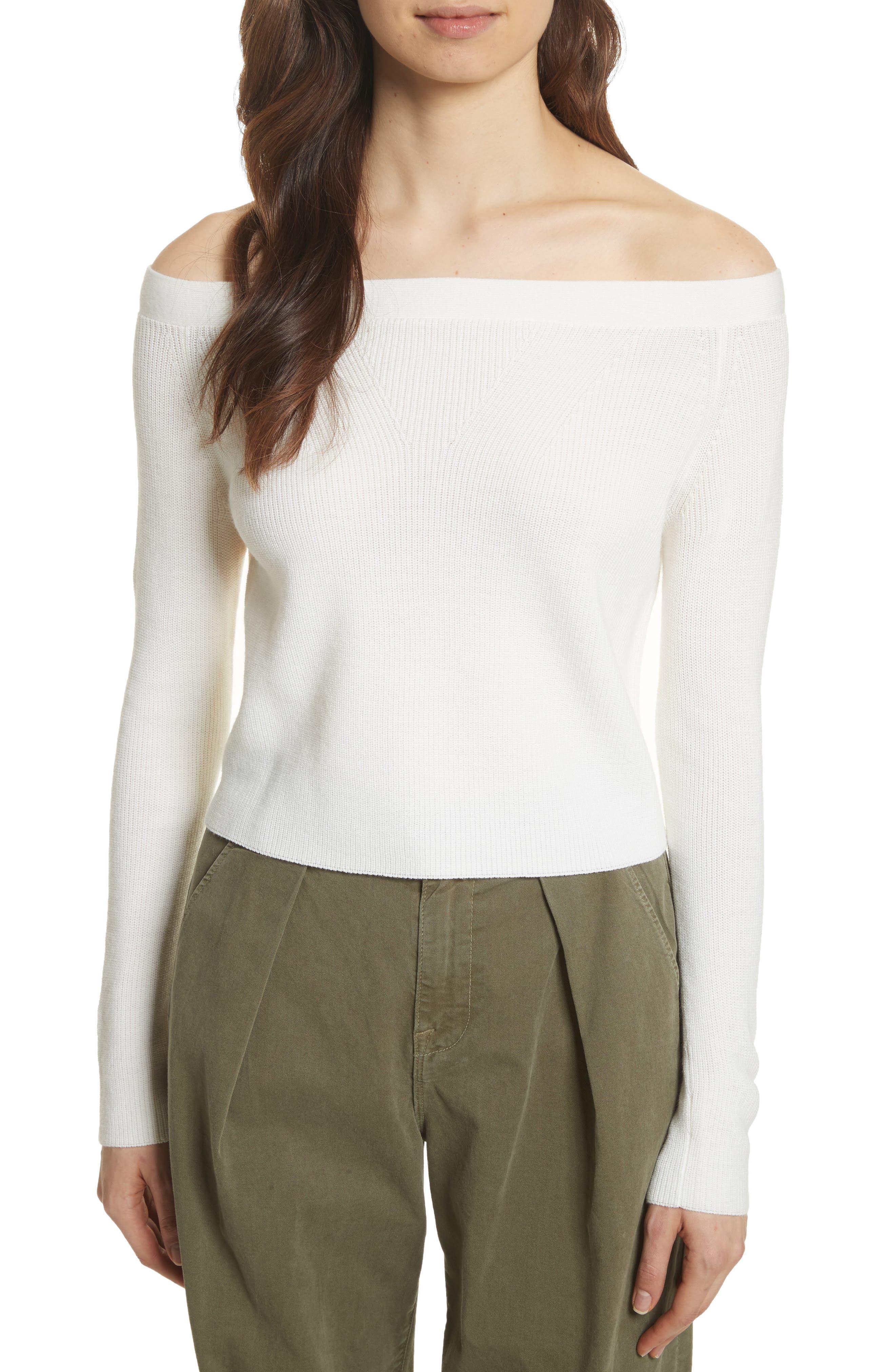 FRAME Off the Shoulder Crop Sweater