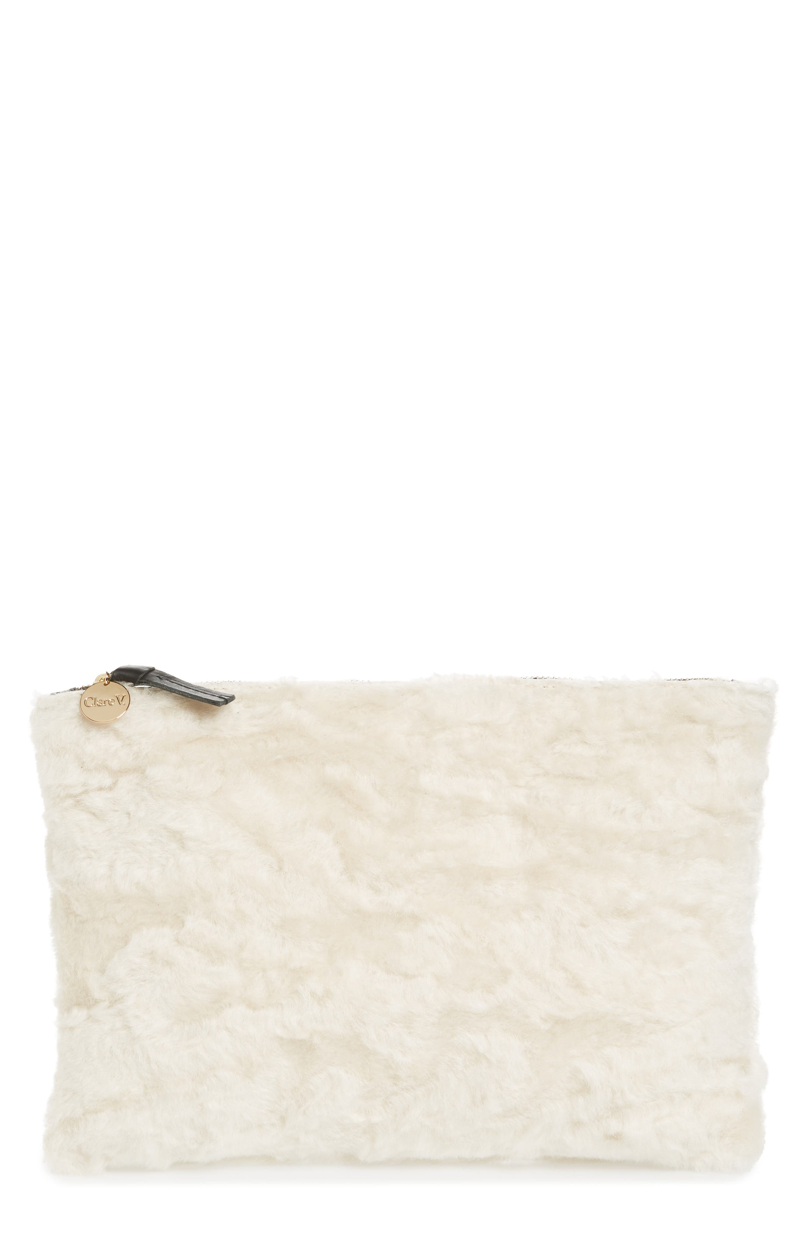 Alternate Image 1 Selected - Clare V. Genuine Shearling Flat Clutch