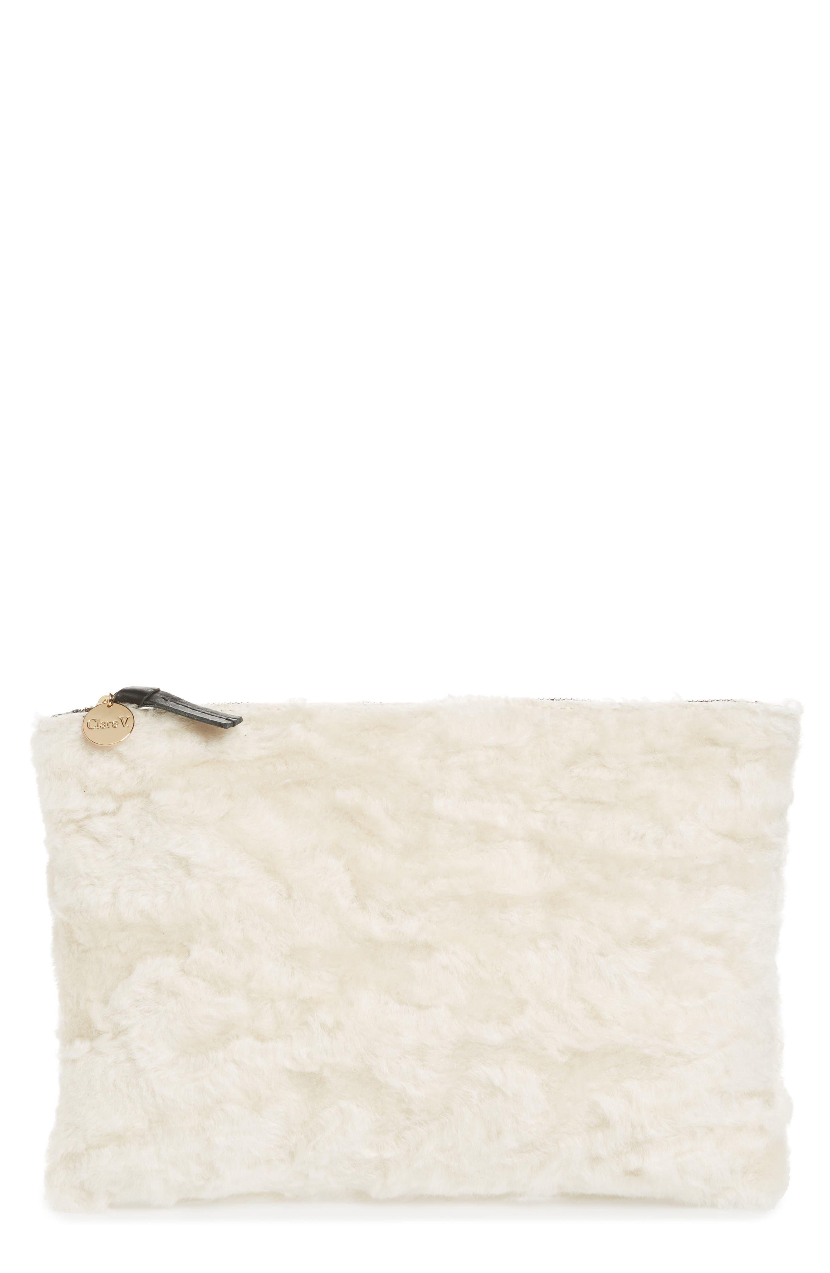 Genuine Shearling Flat Clutch,                         Main,                         color, Cream Shearling