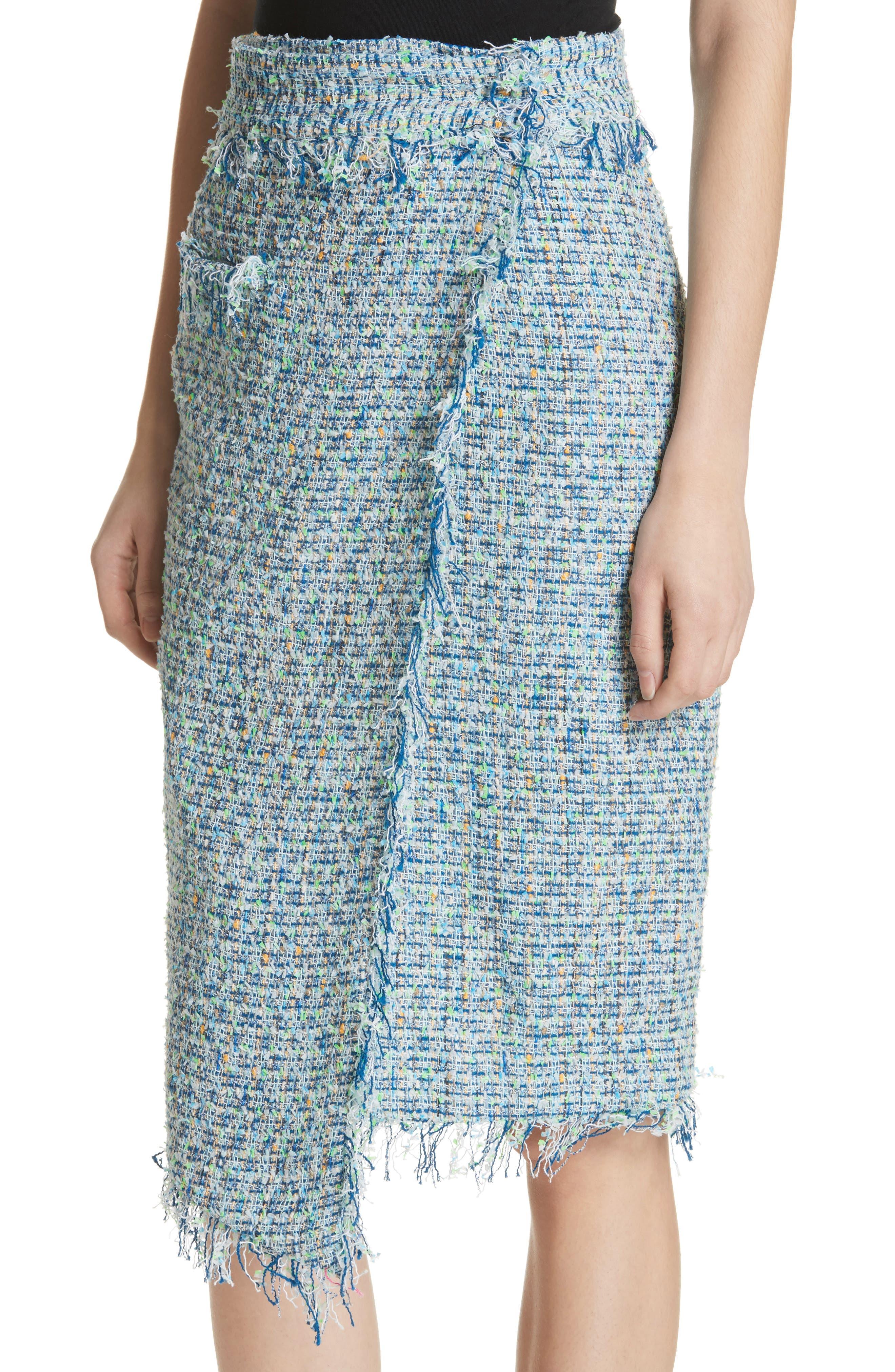 Tweed Wrap Skirt,                             Alternate thumbnail 4, color,                             Blue