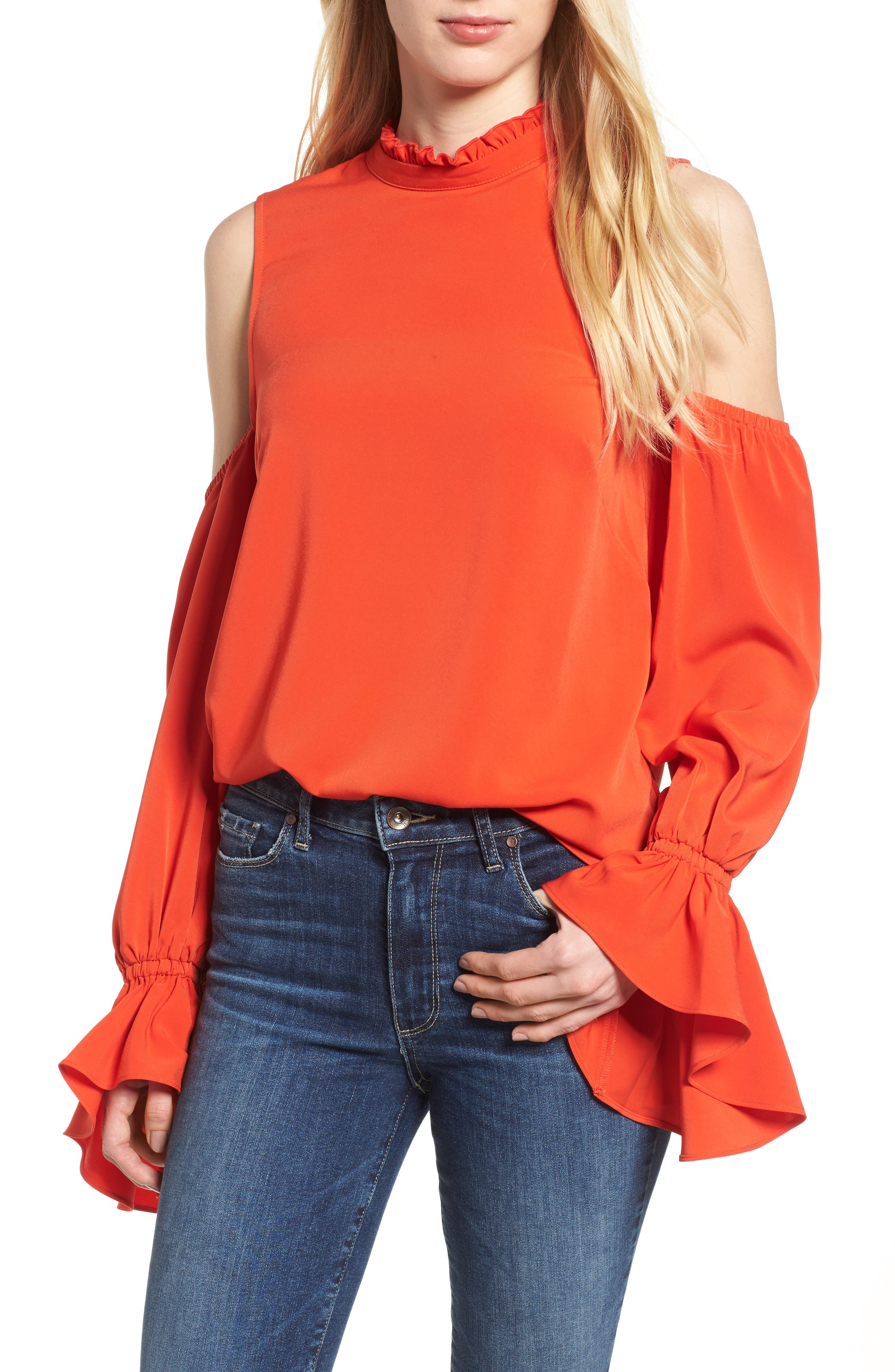 Bishop + Young Cold Shoulder Blouse,                             Main thumbnail 1, color,                             Poppy Pop