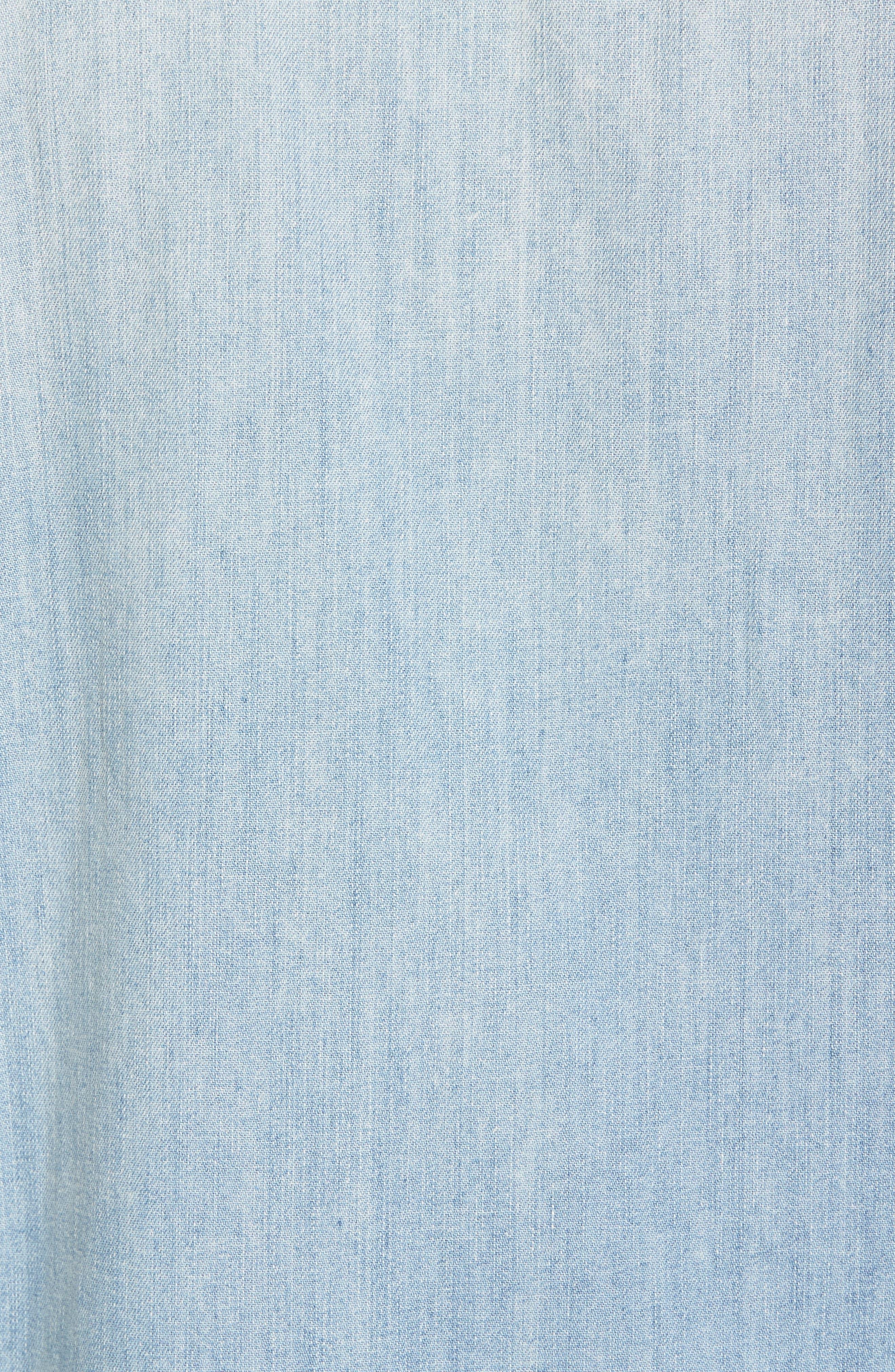1955 Sawtooth Trim Fit Denim Western Shirt,                             Alternate thumbnail 5, color,                             Blue