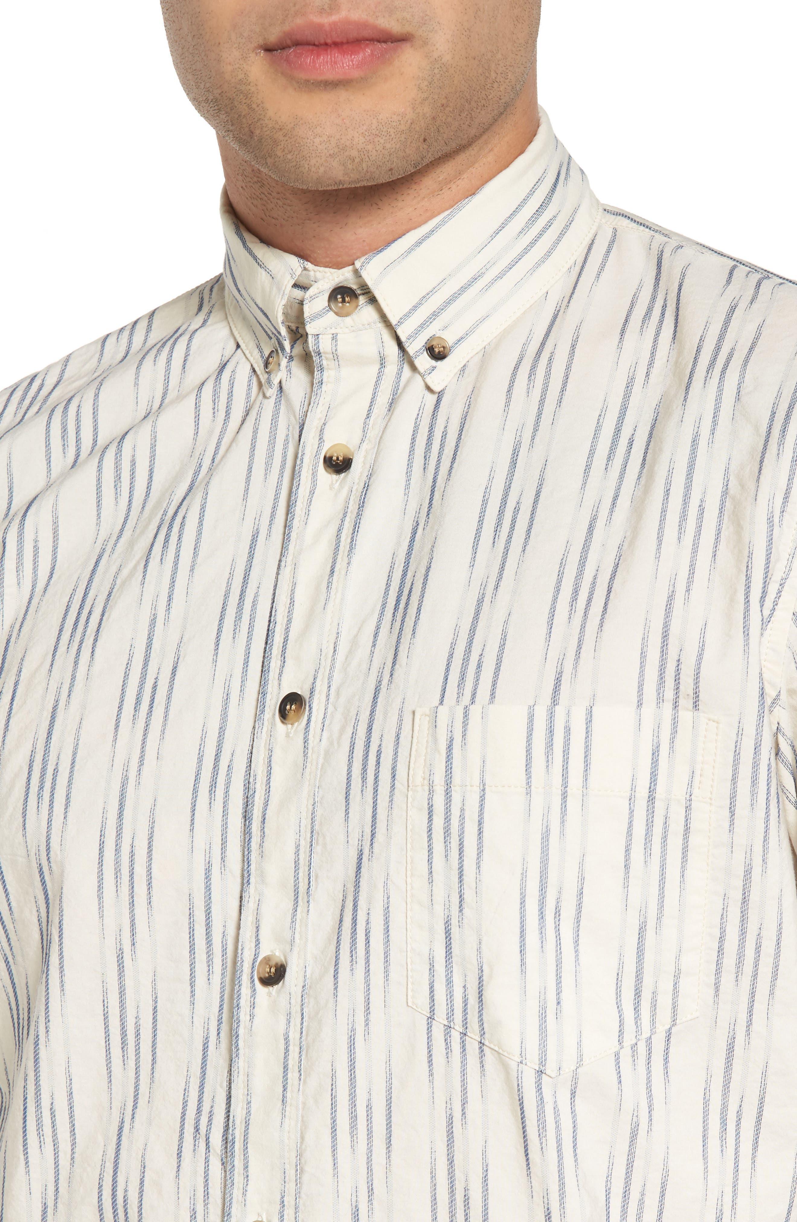 Regular Fit Sport Shirt,                             Alternate thumbnail 4, color,                             Ikat White/Blue