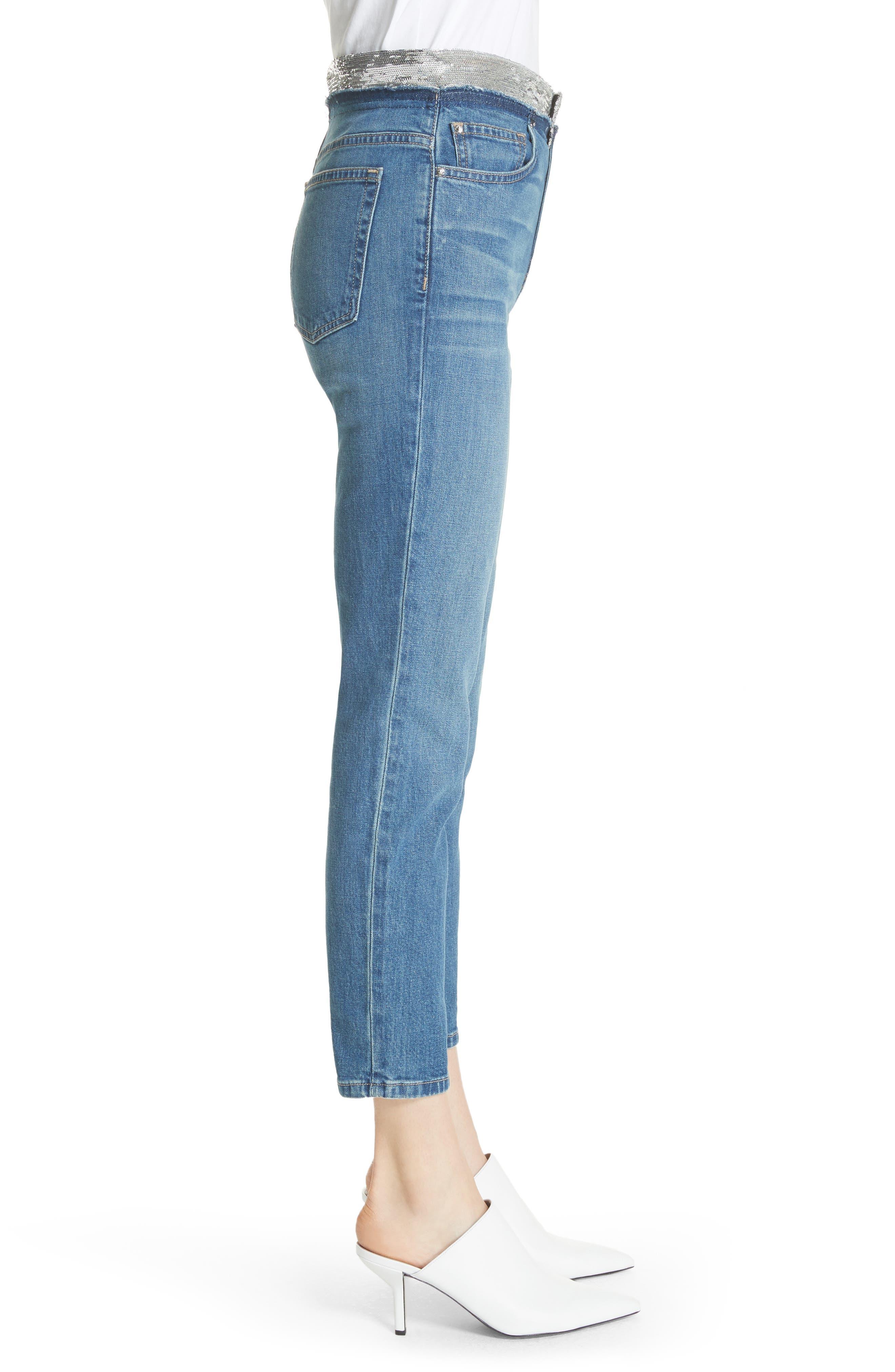 Jones Crop Jeans,                             Alternate thumbnail 3, color,                             Stone Blue