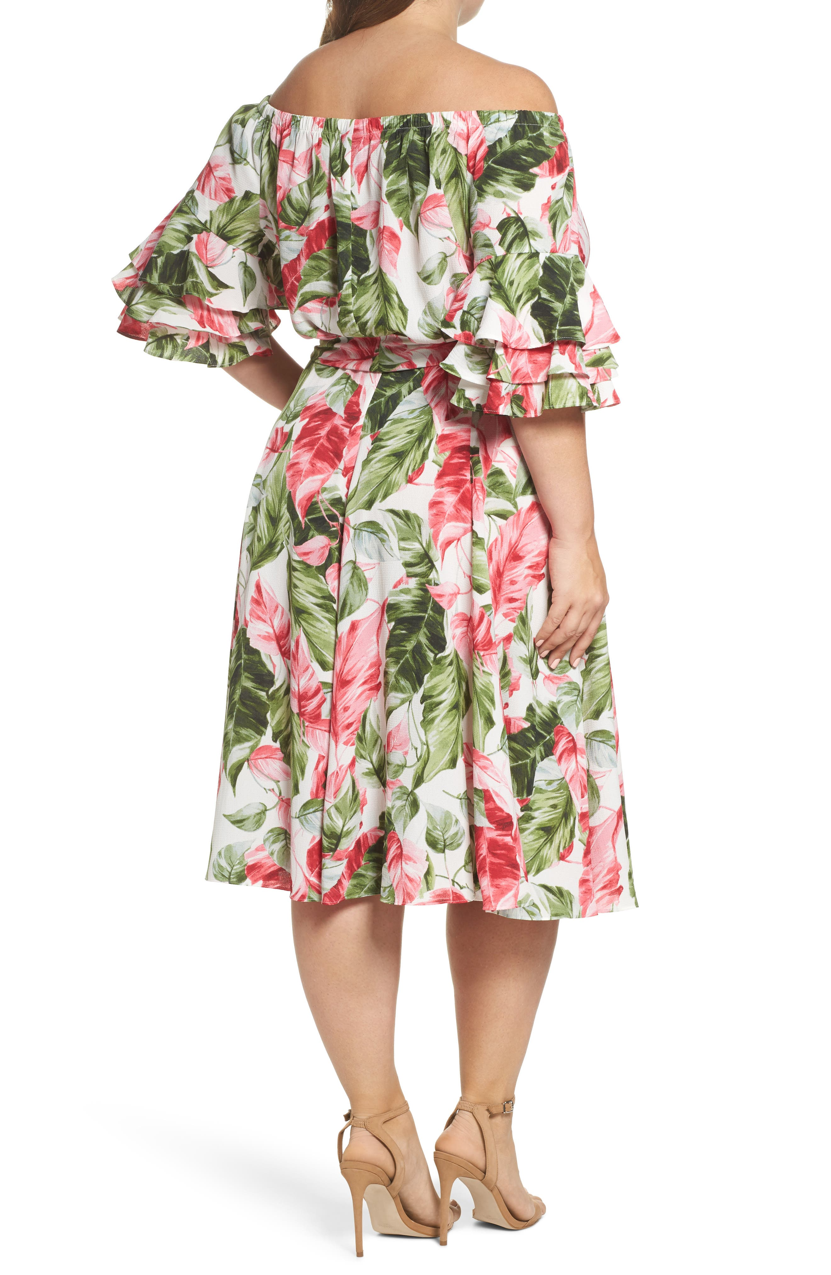 Off the Shoulder Floral Midi Dress,                             Alternate thumbnail 2, color,                             Green/ Pink