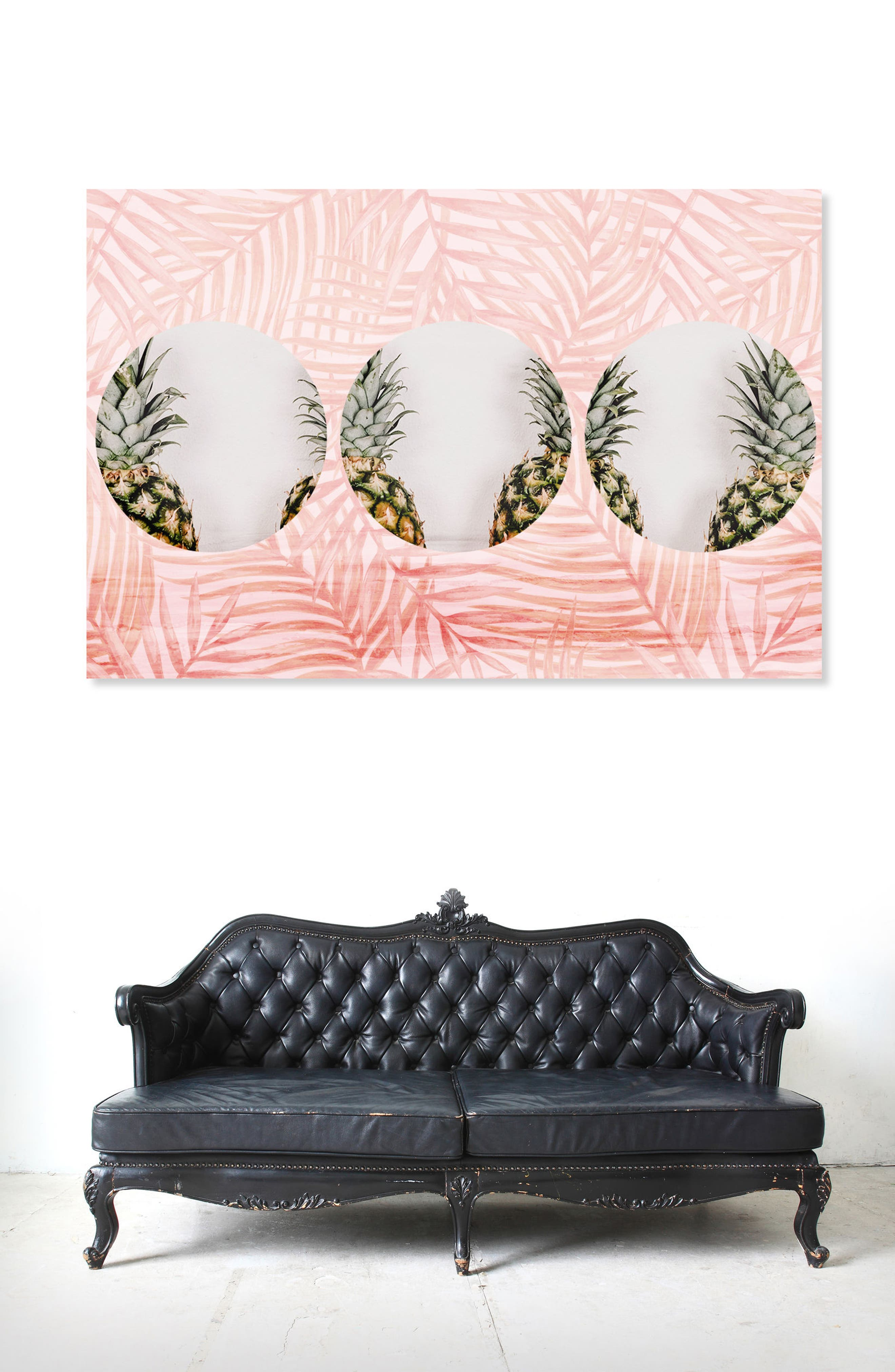 Pineapples & Leaves Canvas Wall Art,                             Alternate thumbnail 2, color,                             Pink