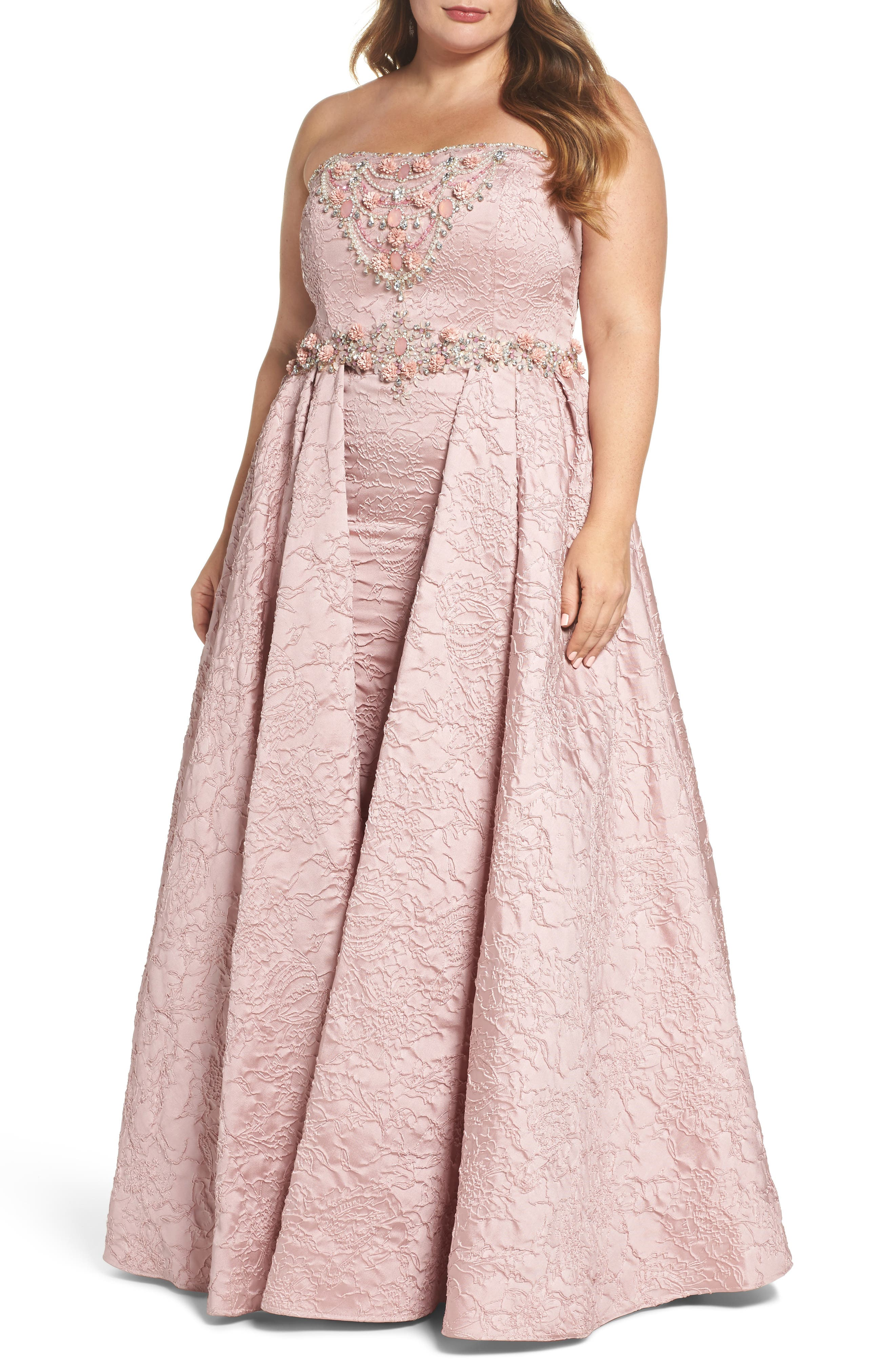 Bustier Strapless Flared Gown,                             Main thumbnail 1, color,                             Rose