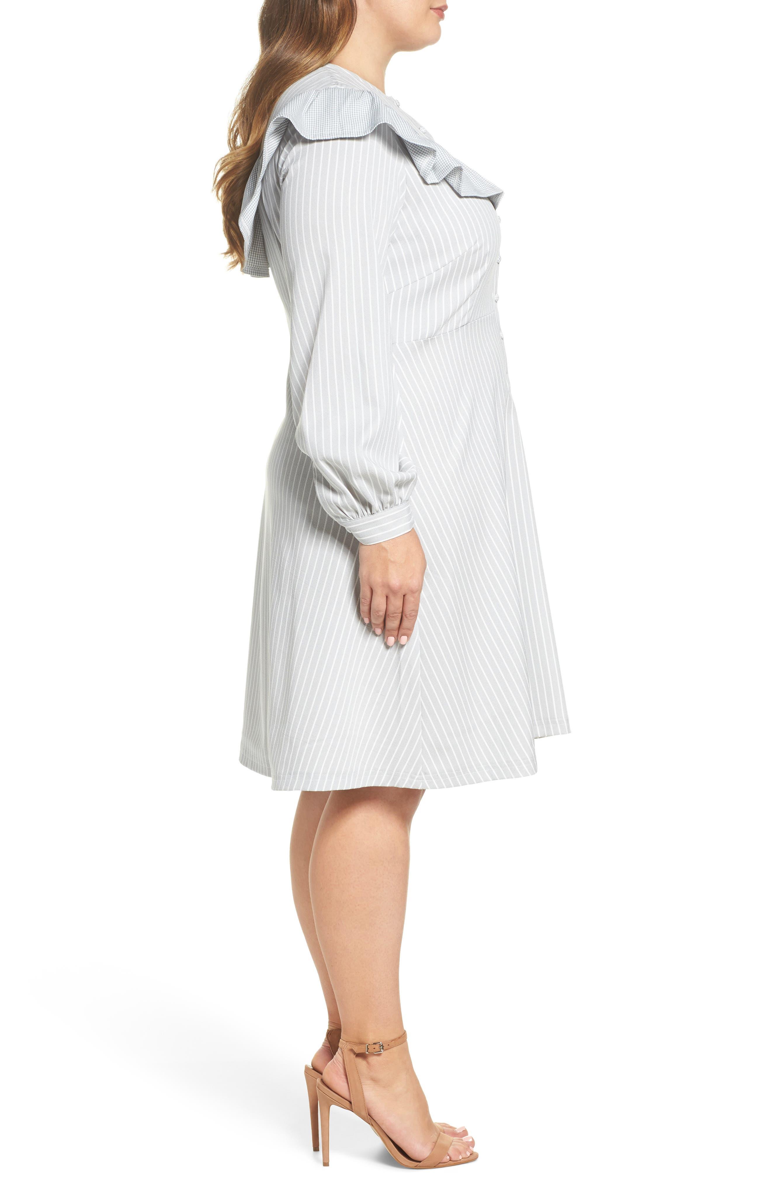 Check Ruffle Stripe Dress,                             Alternate thumbnail 3, color,                             Grey